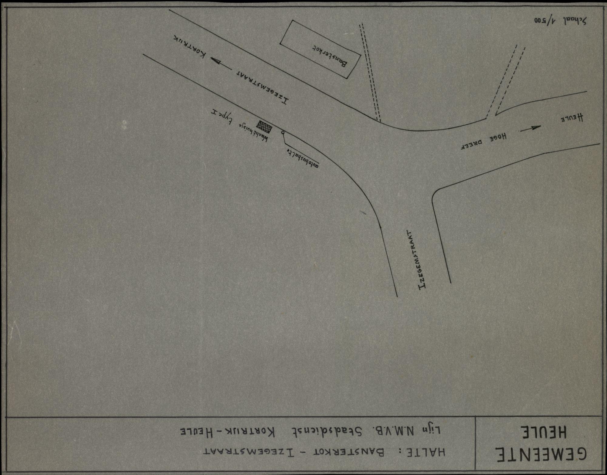 Plan van de halte Bansterkot-Izegemstraat op de lijn N.M.V.B. Kortrijk-Heule, 2de helft 20ste eeuw