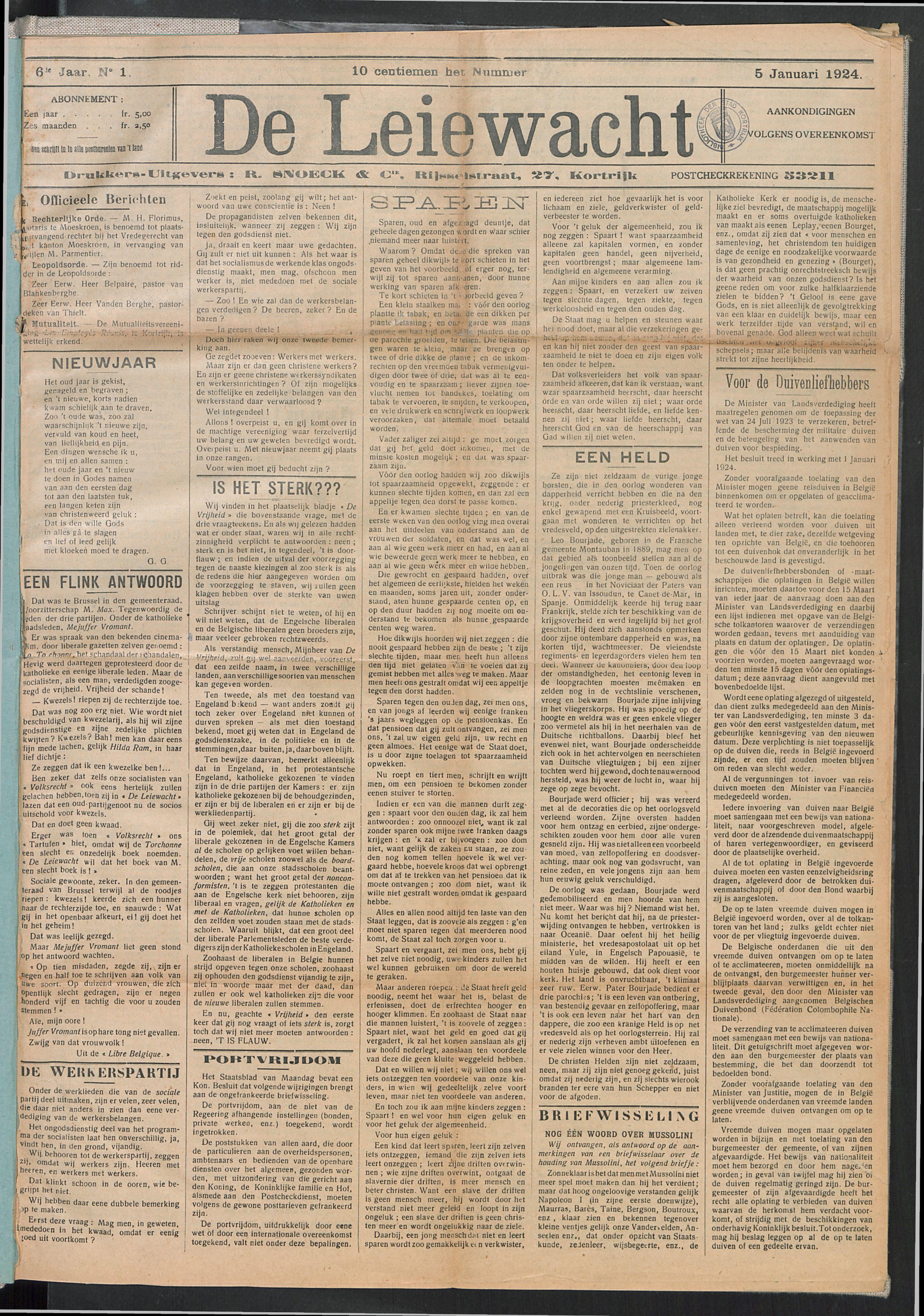 De Leiewacht 1924-01-05 p1