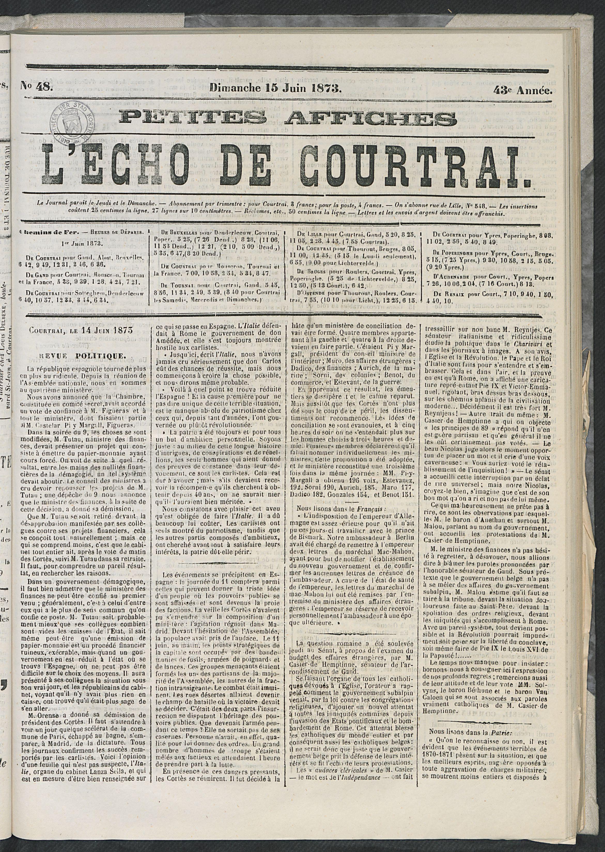 L'echo De Courtrai 1873-06-15 p1