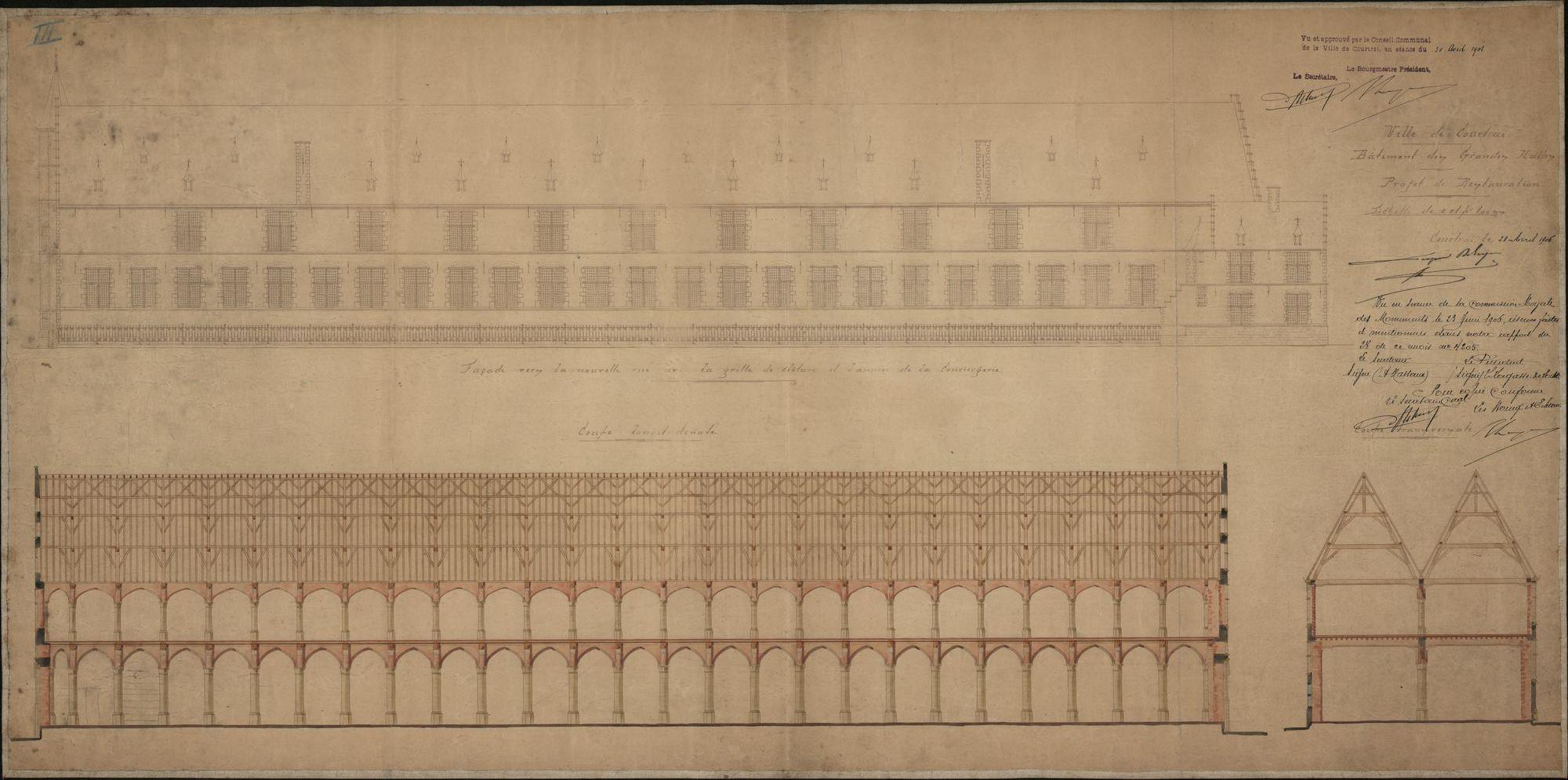 Bouwplannen van de dakconstructie van de Grote Hallen te Kortrijk, 1906.