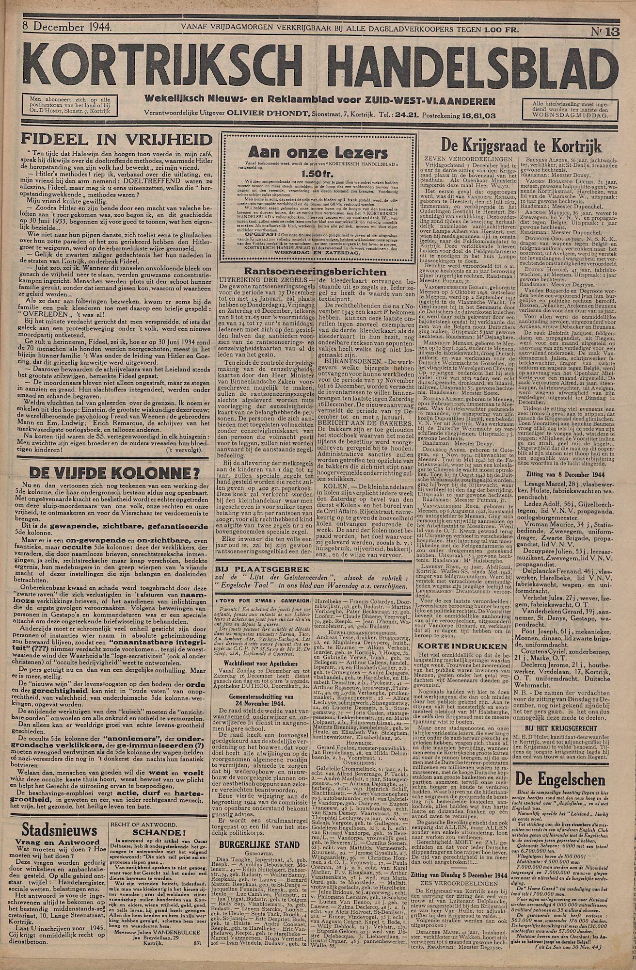 Kortrijksch Handelsblad 8 december 1944 Nr13 p1