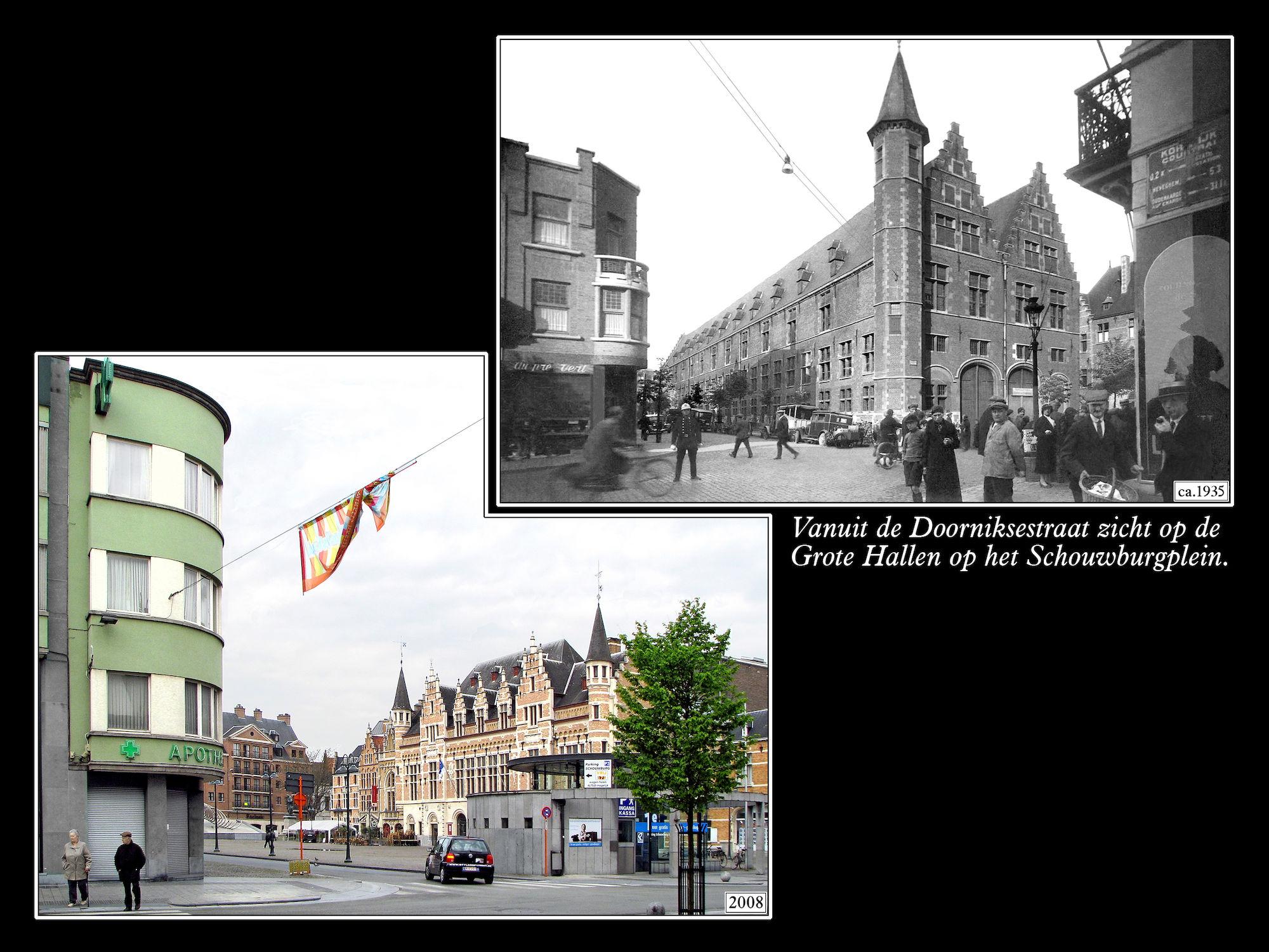Schouwburgplein ca 1935 en 2008