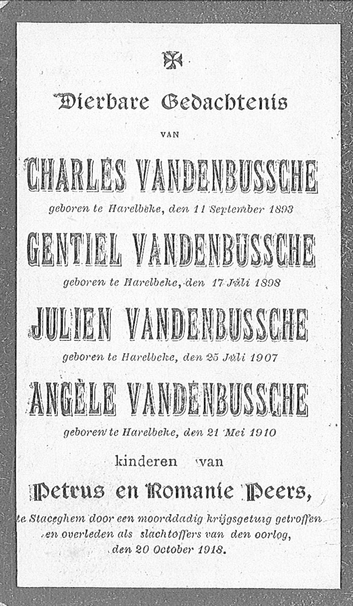 Charles en Gentiel en Julien en Angèle Vandenbussche