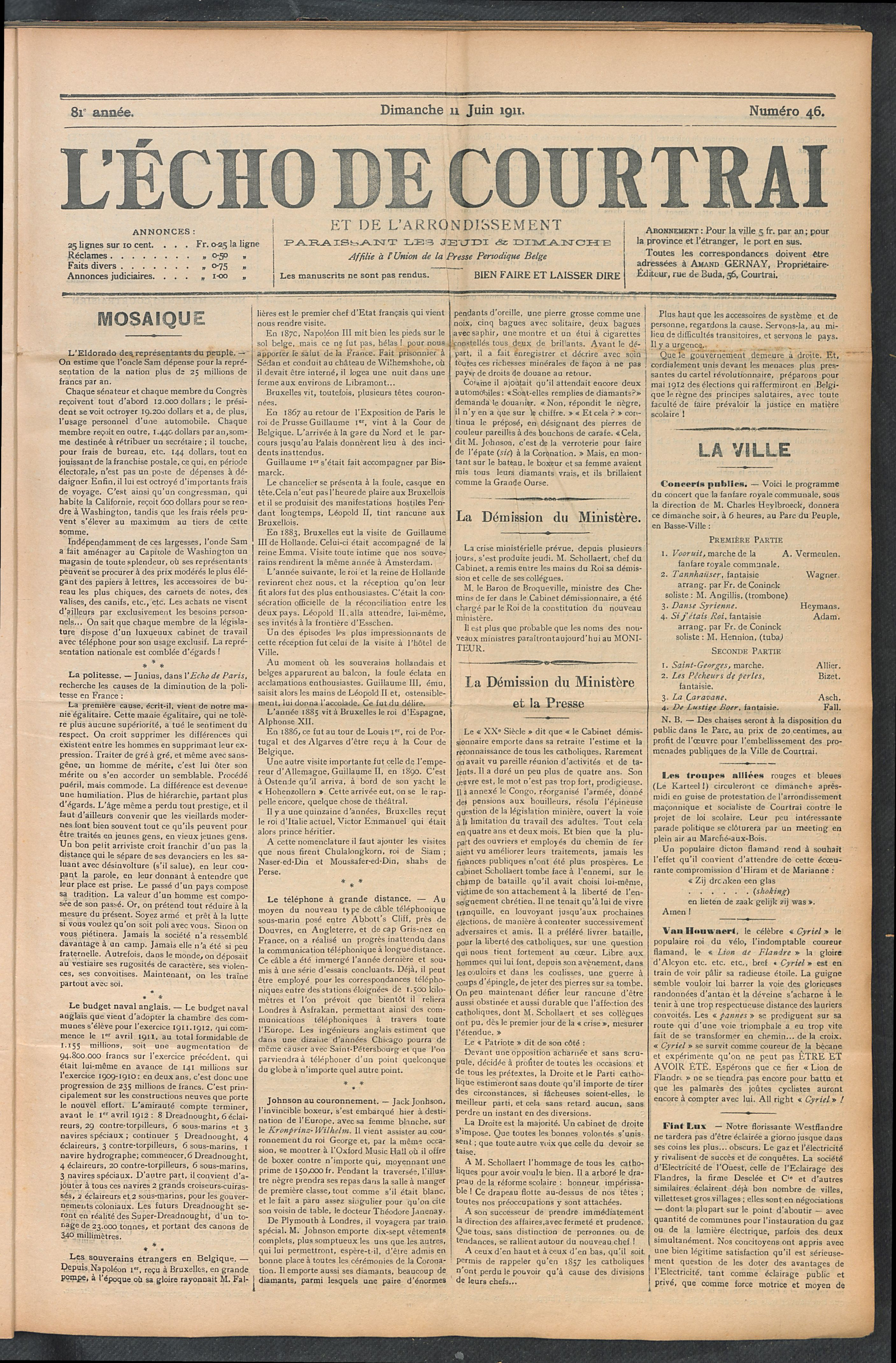 L'echo De Courtrai 1911-06-11 p1