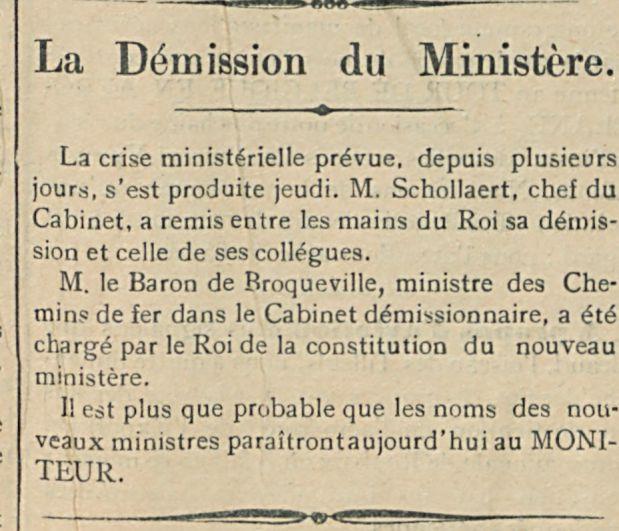 La Demission du Ministere