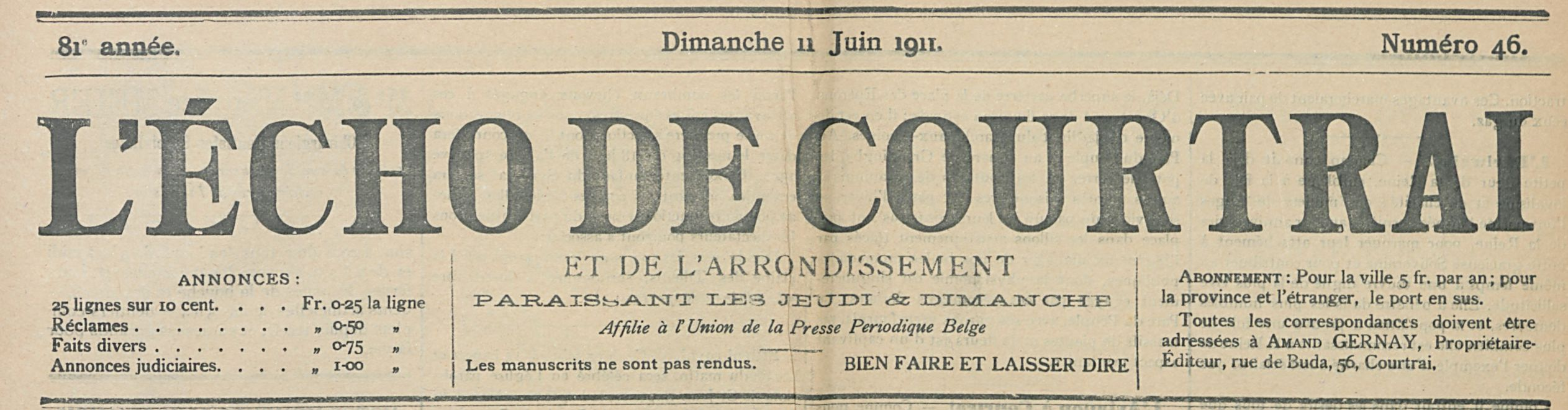 L 'ÉCHO DE COURTRAI
