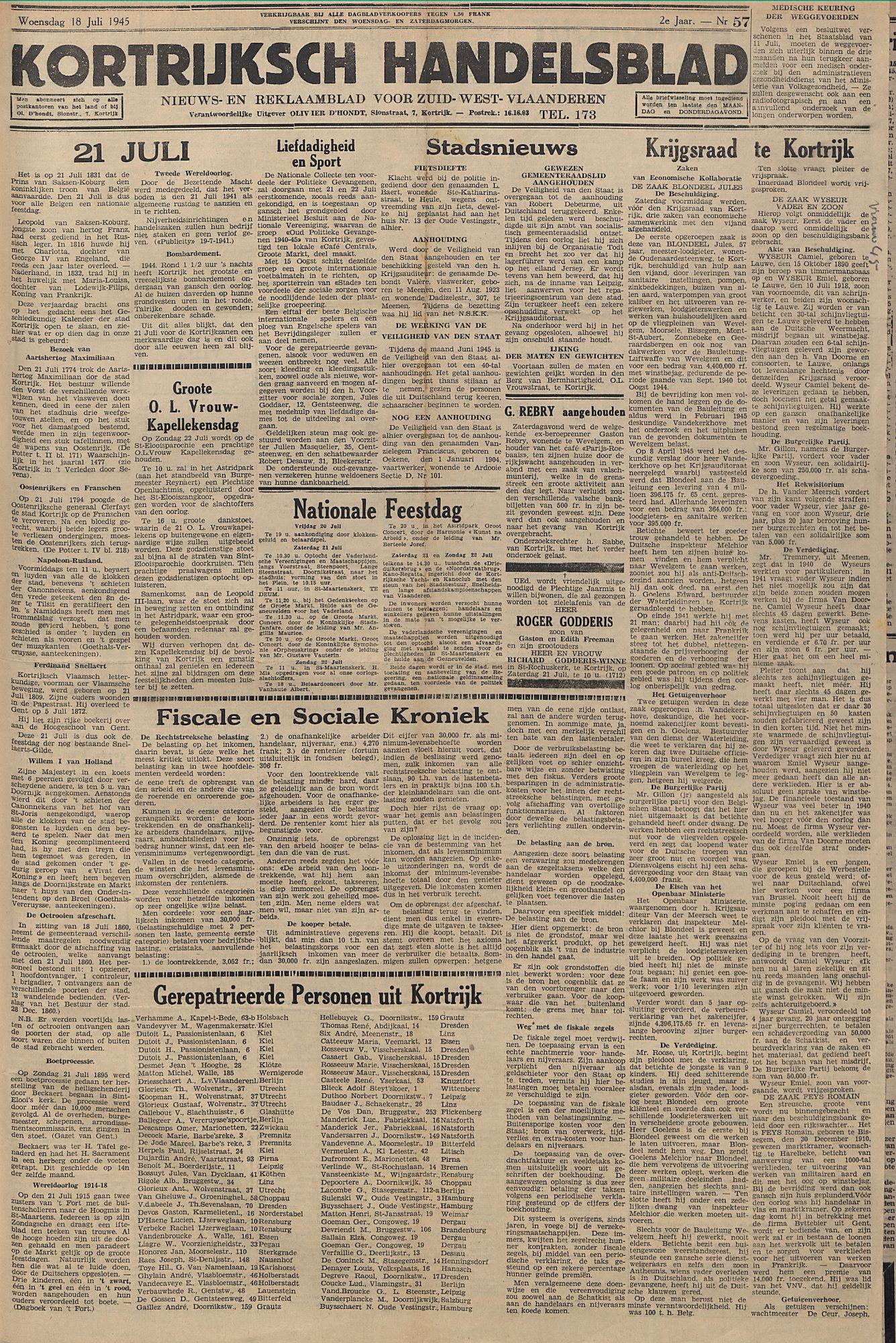 Kortrijksch Handelsblad 18 juli 1945 Nr57 p1