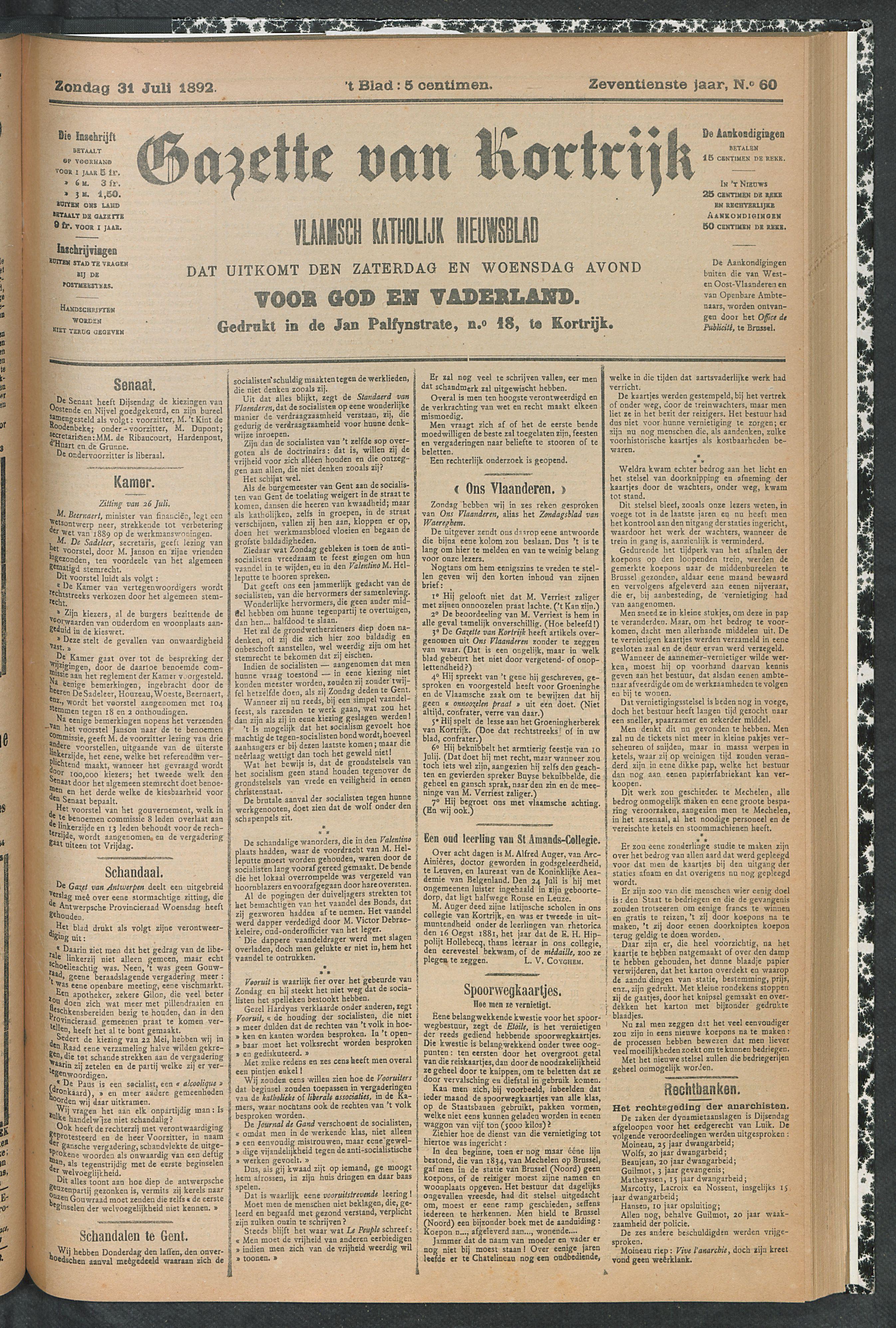 Gazette Van Kortrijk 1892-07-31 p1
