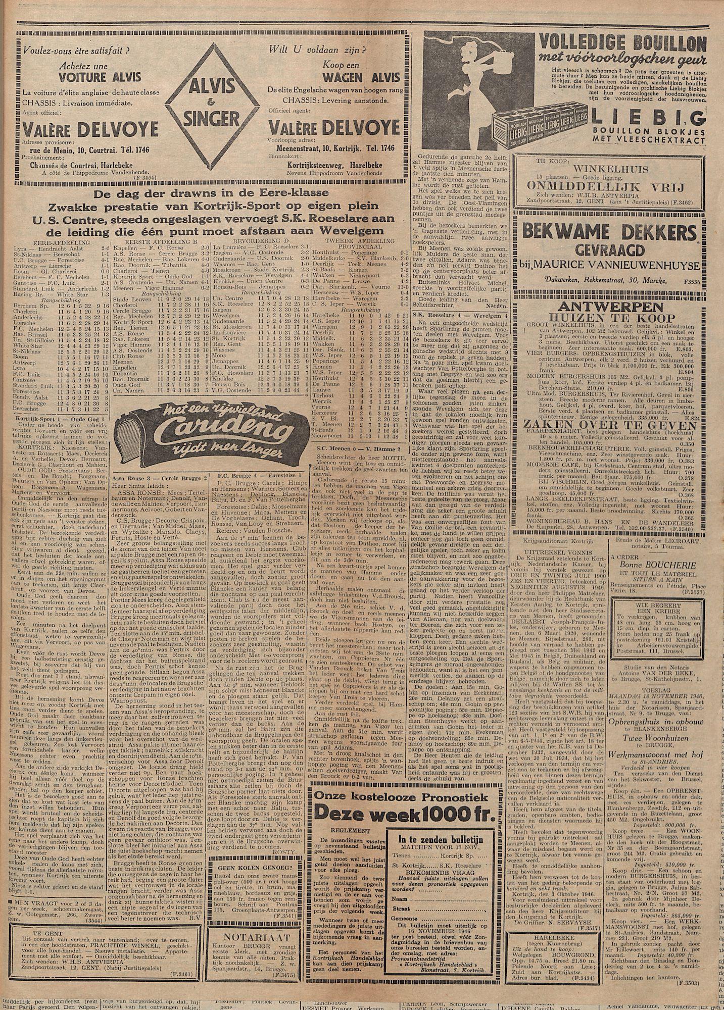 Kortrijksch Handelsblad 13 november 1946 Nr91 p3