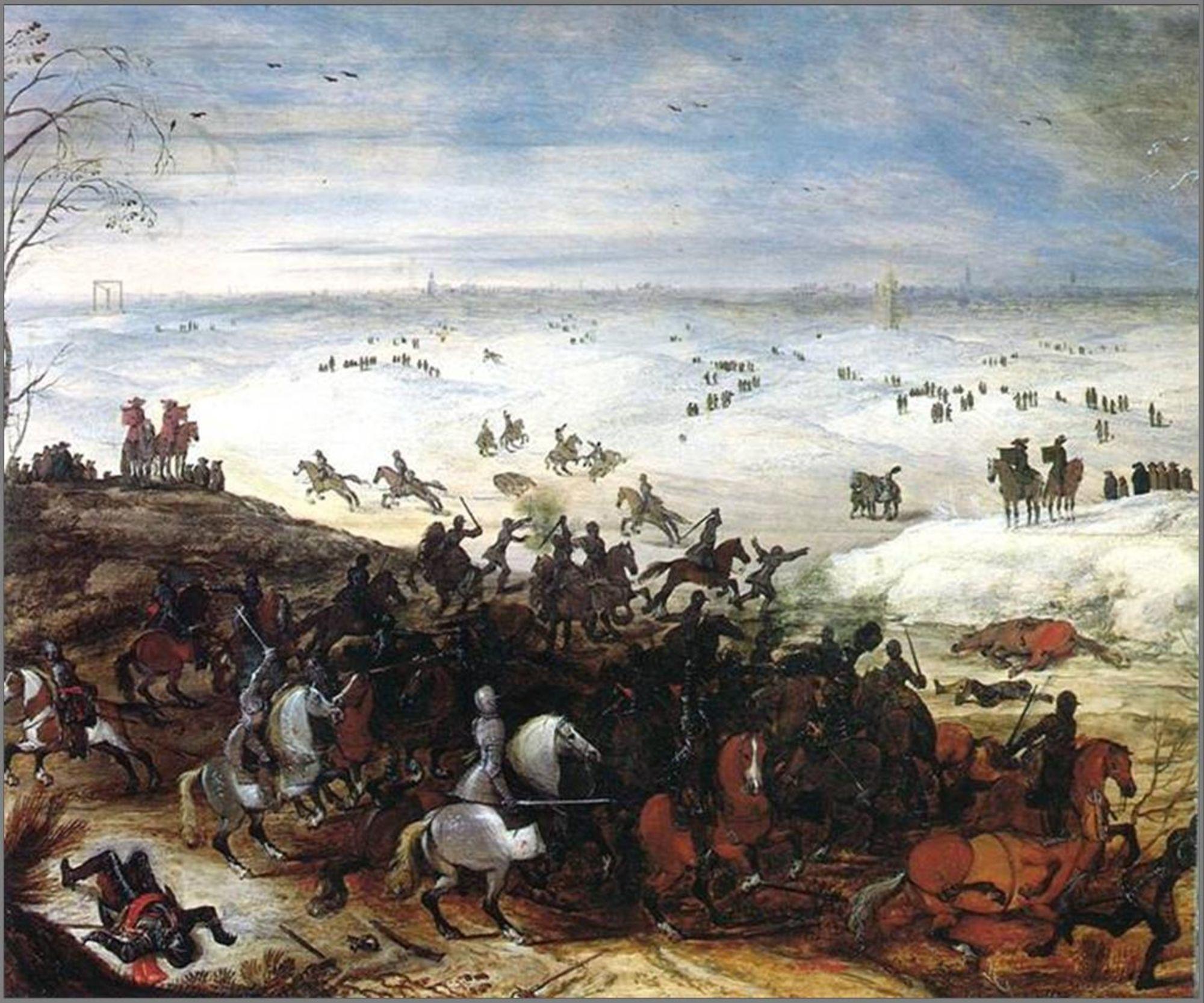 Strijd tussen Spaanse en Staatse troepen in 1600