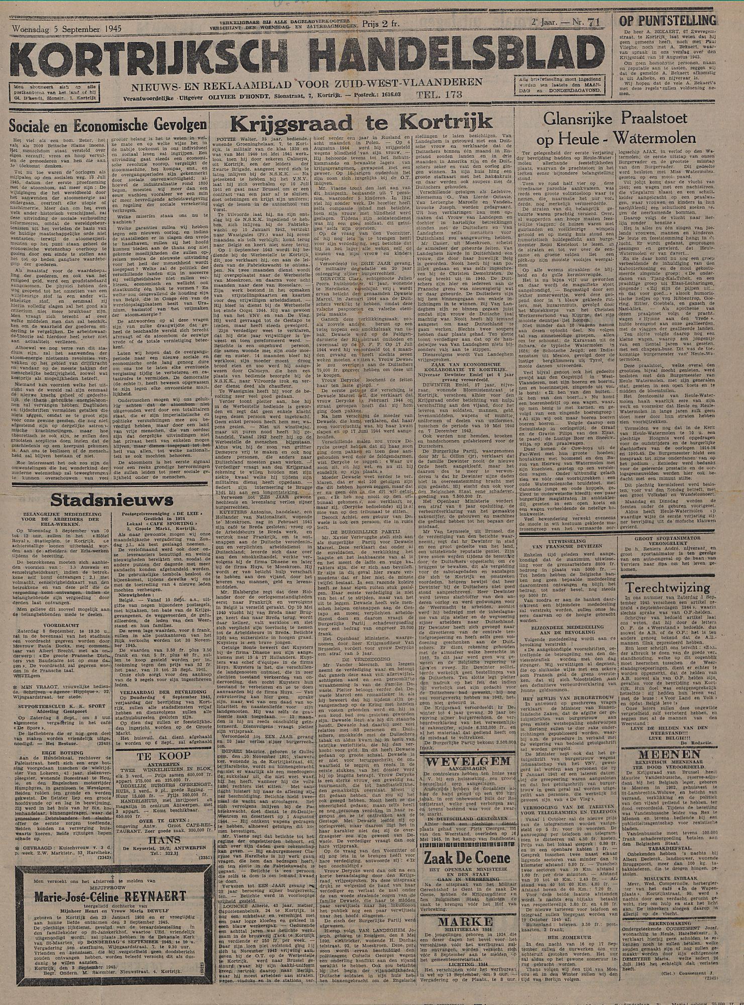 Kortrijksch Handelsblad 5 september 1945 Nr71 p1