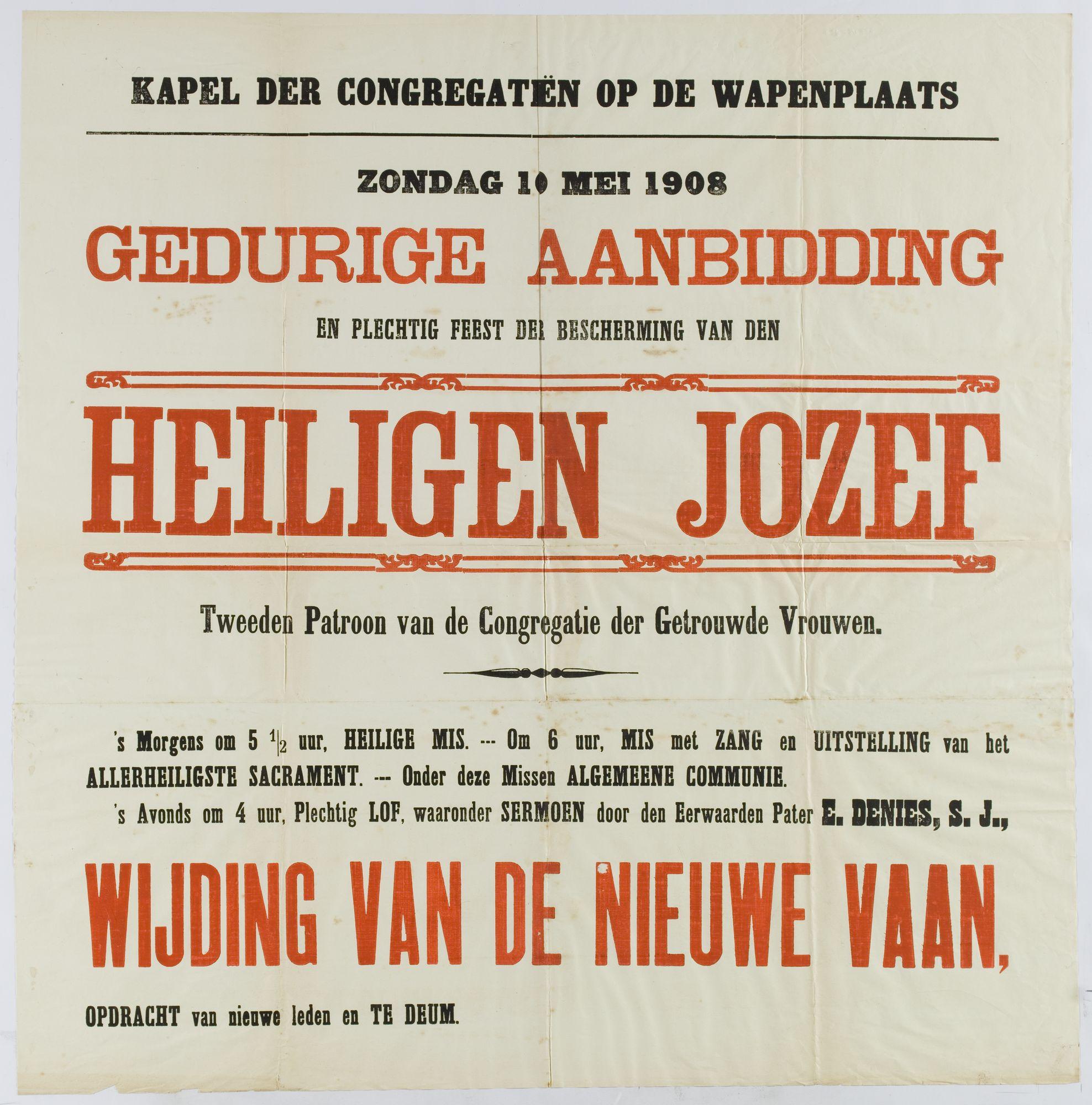 Plechtigheden Kongregatiekapel 1908