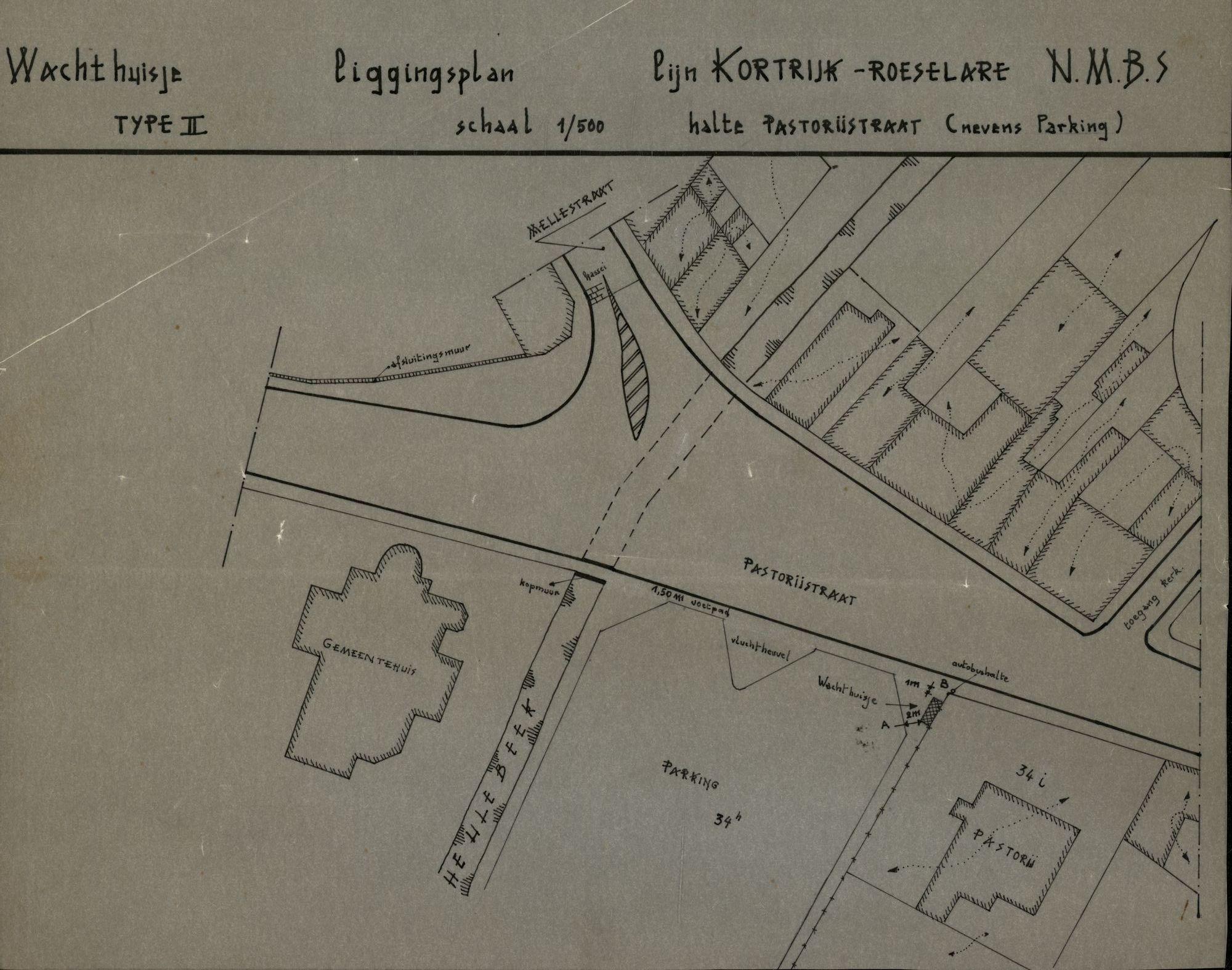 Plan van de bushalte Pastorijstraat op de lijn Kortrijk-Roeselare te Heule, 2de helft 20ste eeuw
