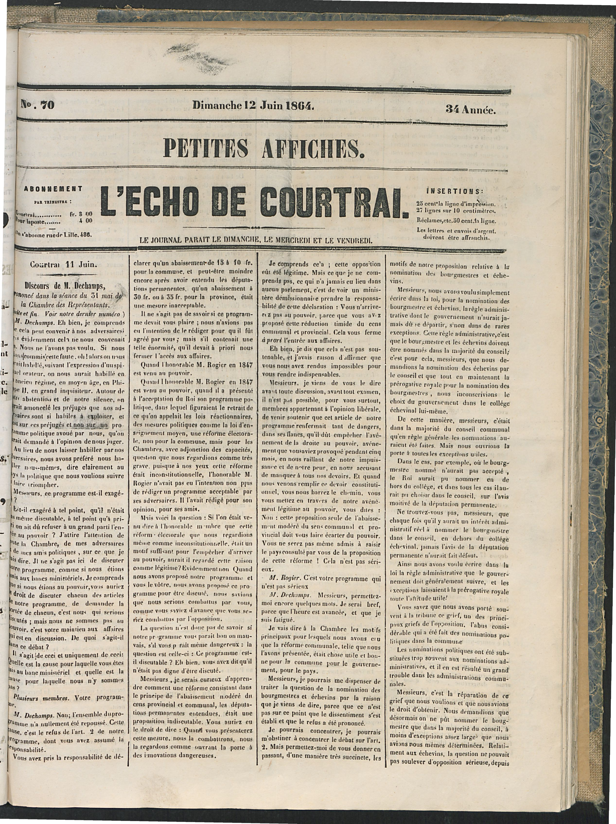 L'echo De Courtrai 1864-06-12 p1