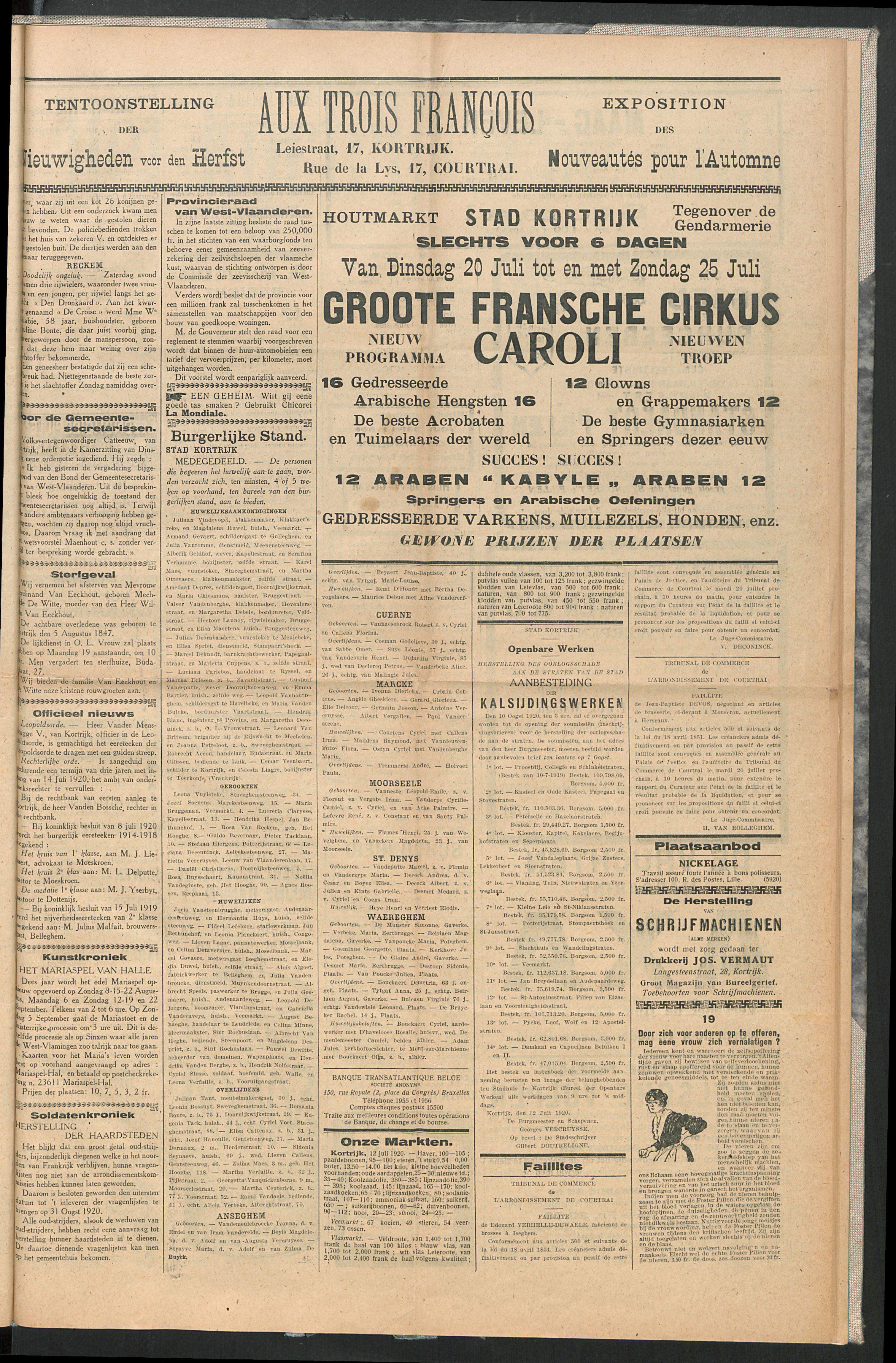 Het Kortrijksche Volk 1920-07-18 p3