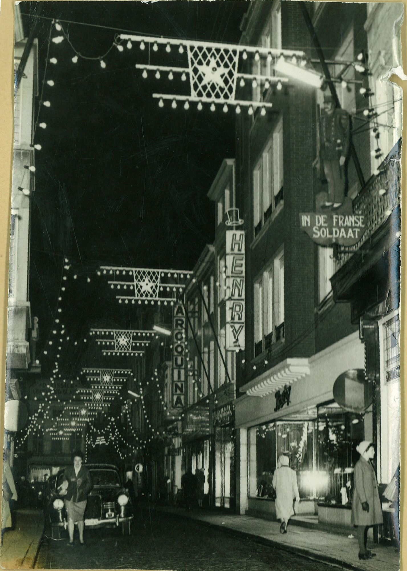 Korte Steenstraat (Shoppingstreet) kerstverlichting 1962