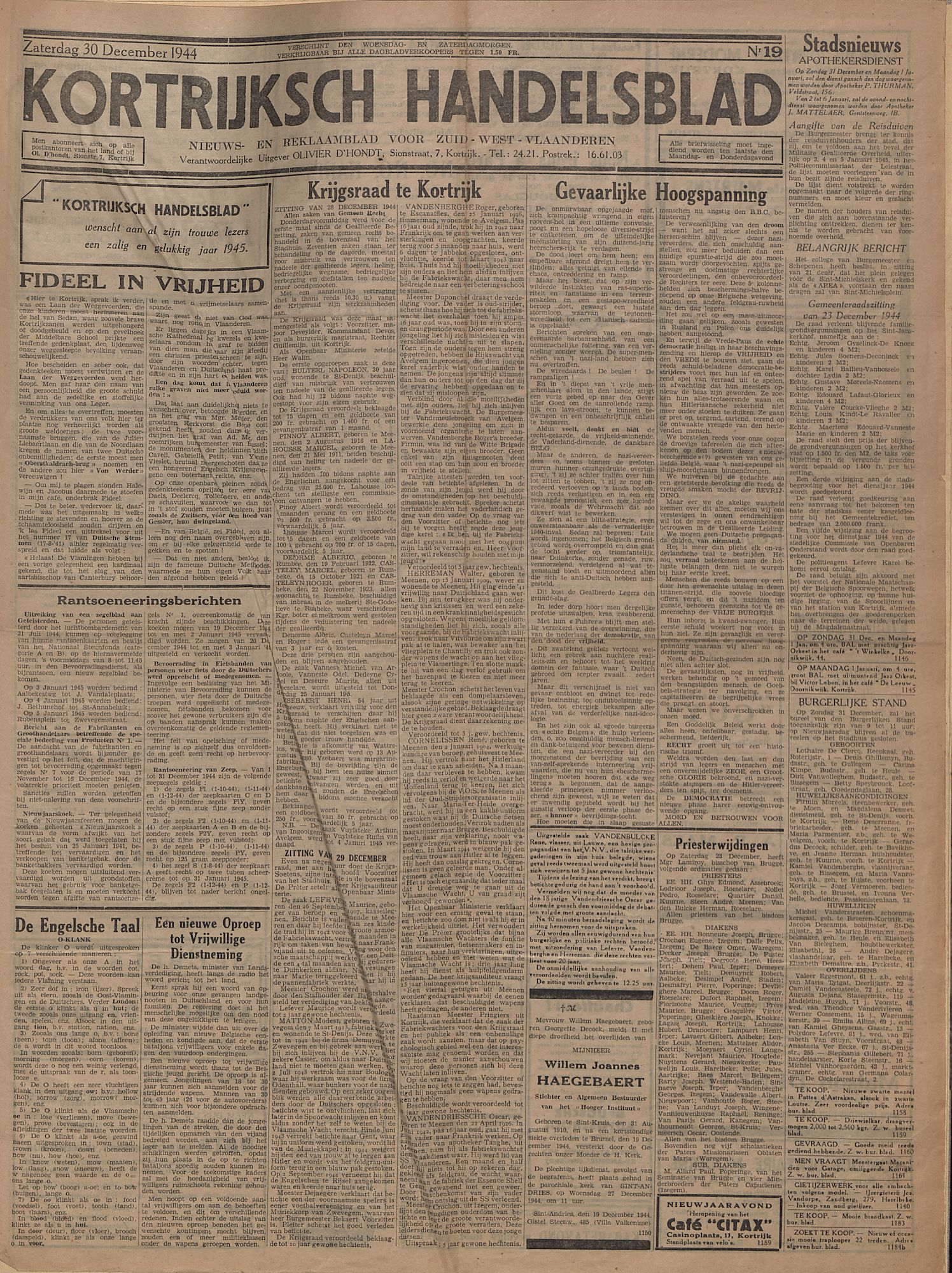 Kortrijksch Handelsblad 30 december 1944 Nr19 p1