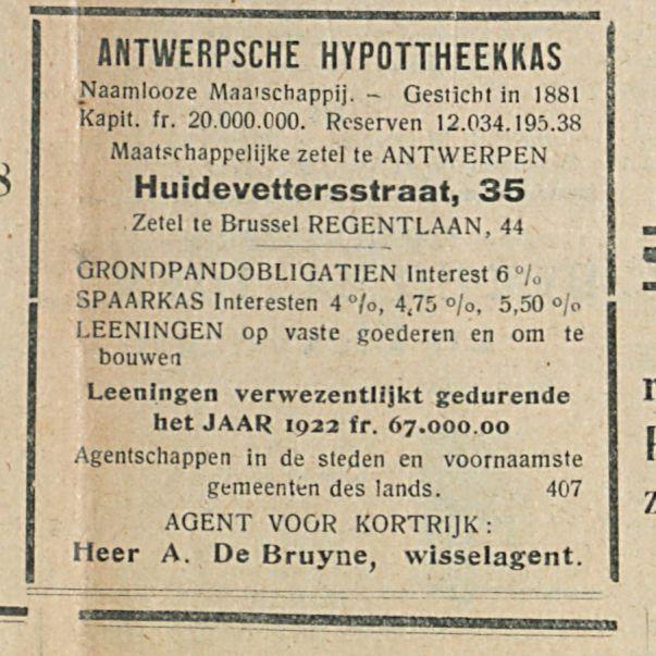 ANTWERPSCHE HYPOTTHEEKKflS