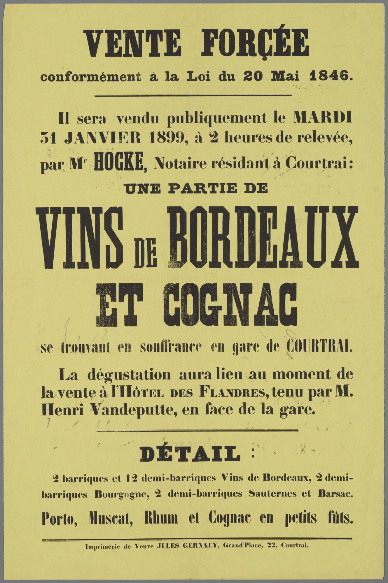 Verkoop van sterke drank 1899