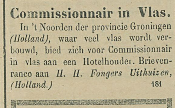 Commissionnair in Vlas