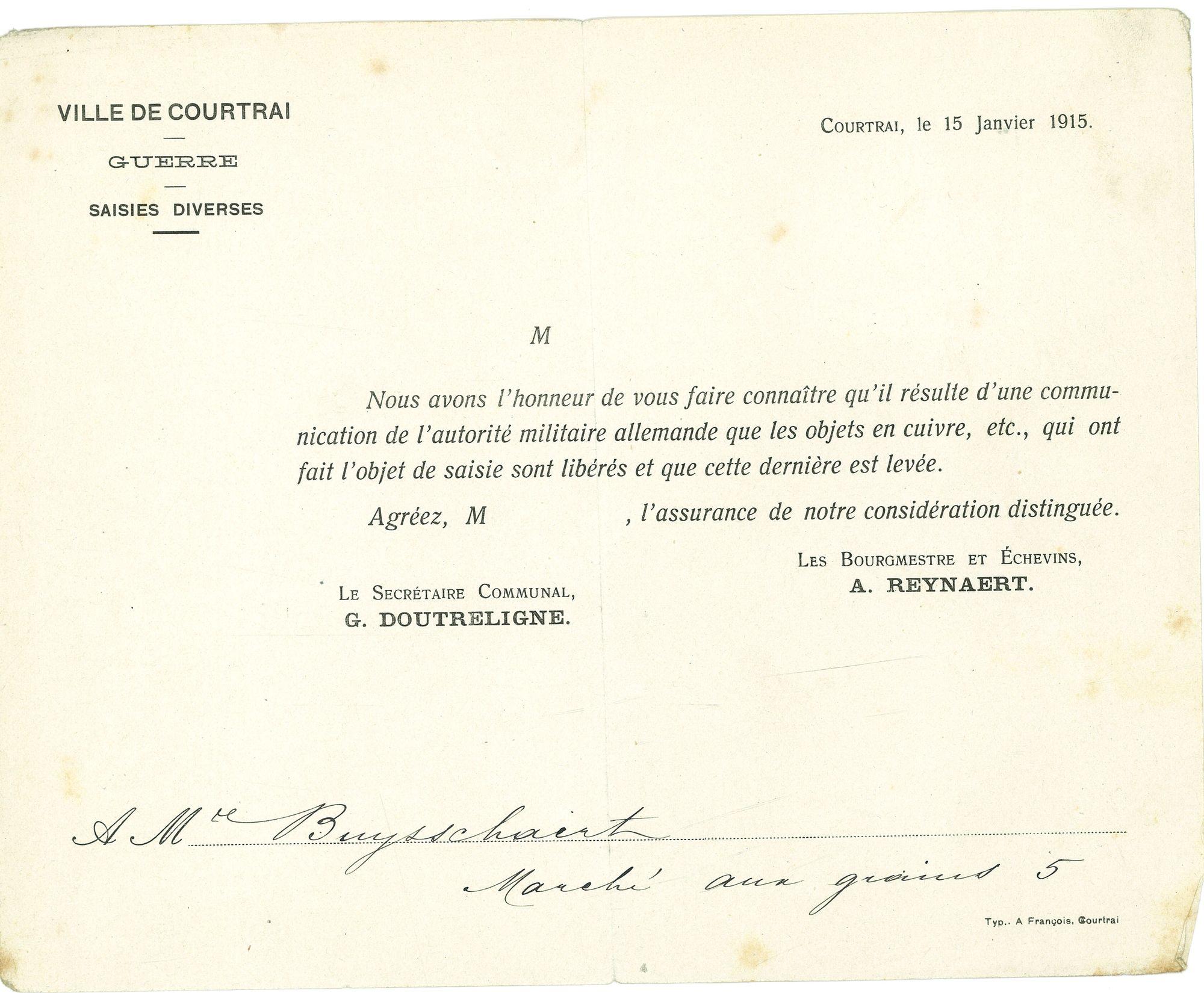 Inbeslagname koper 1915