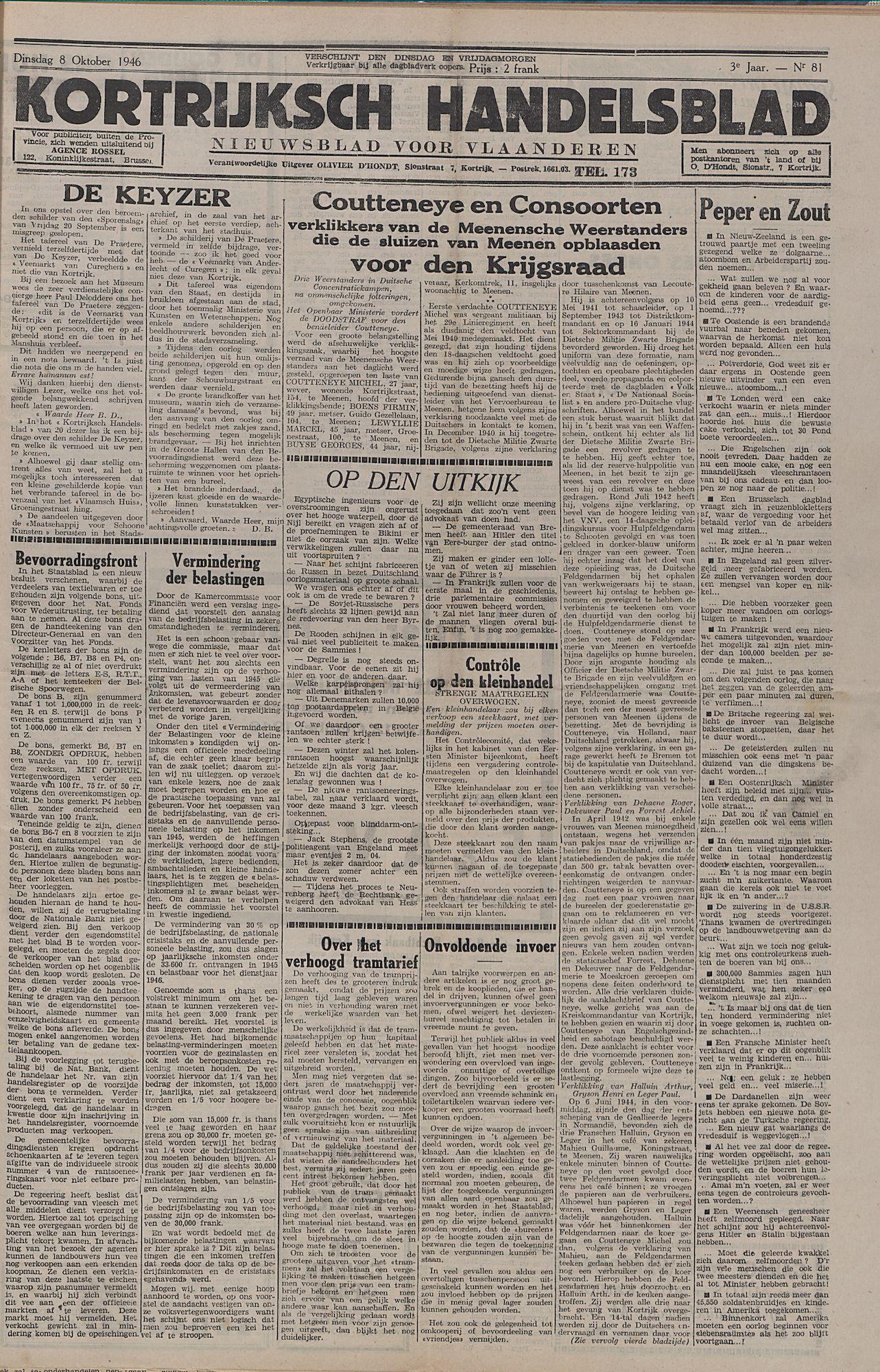 Kortrijksch Handelsblad 8 oktober 1946 Nr81 p1