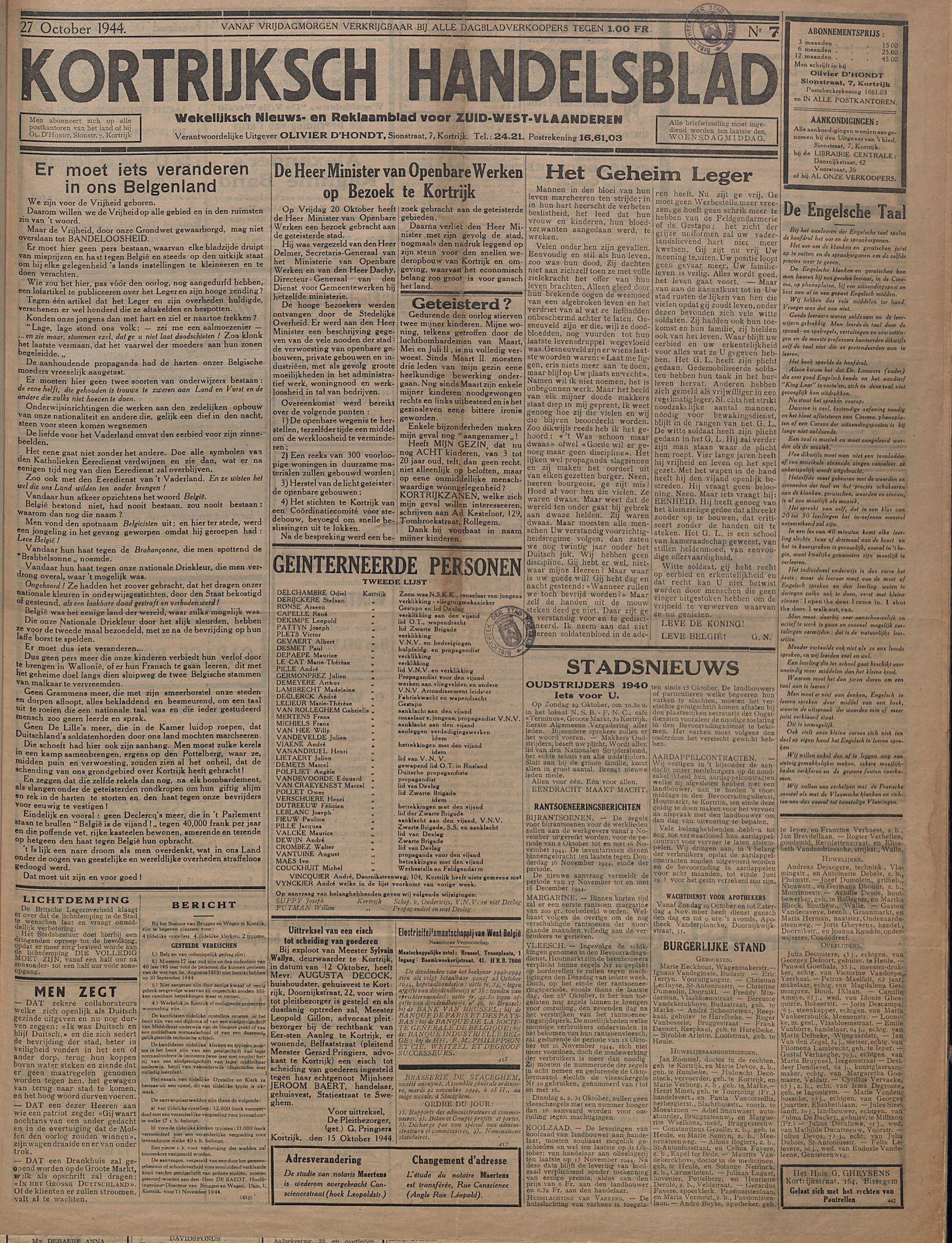 Kortrijksch Handelsblad 27 oktober 1944 Nr7 p1