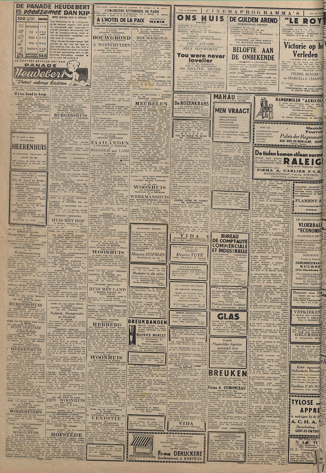 Kortrijksch Handelsblad 12 october 1945 Nr82 p2