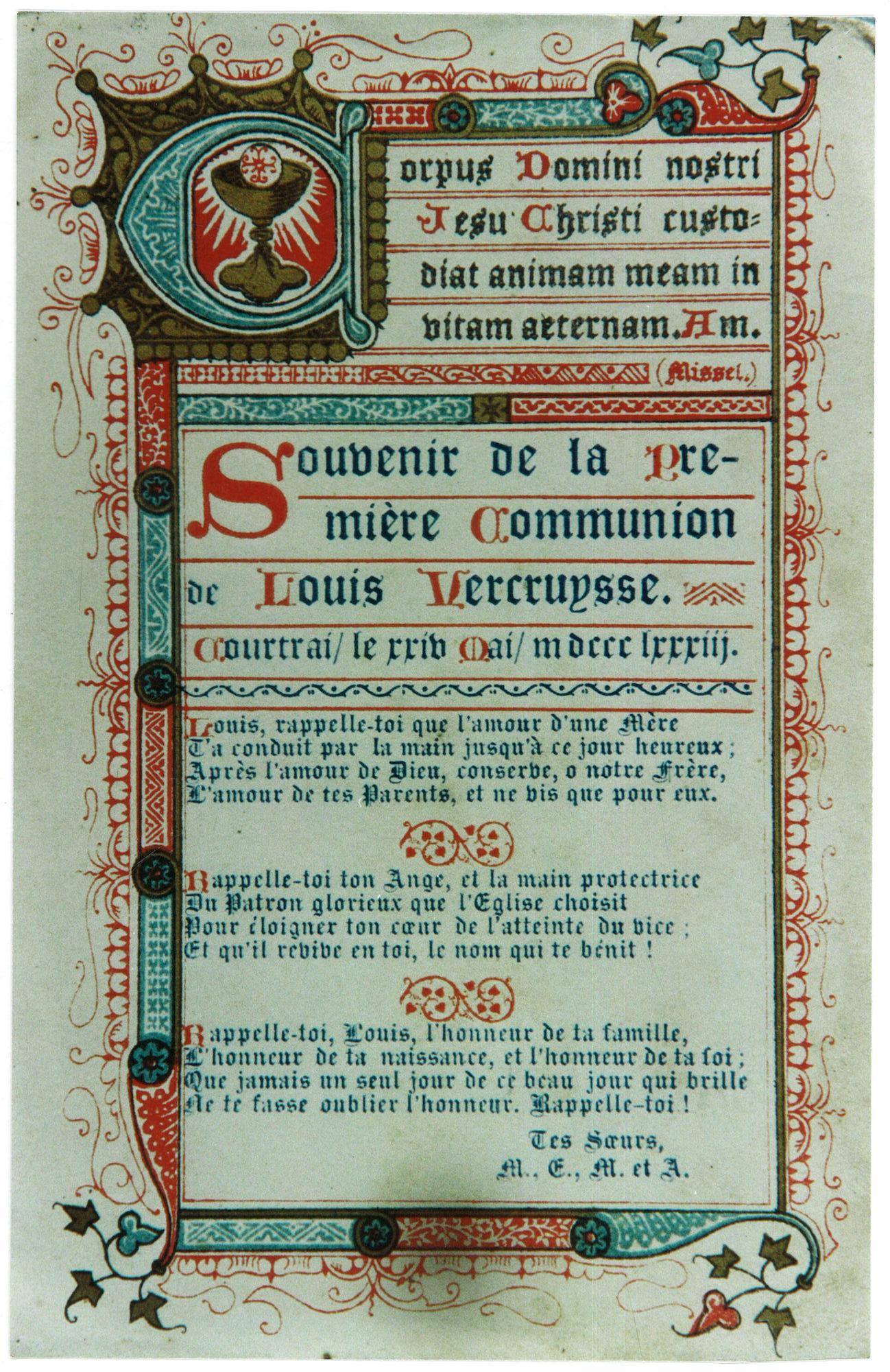 Eerste communie van Louis Vercruysse 1883