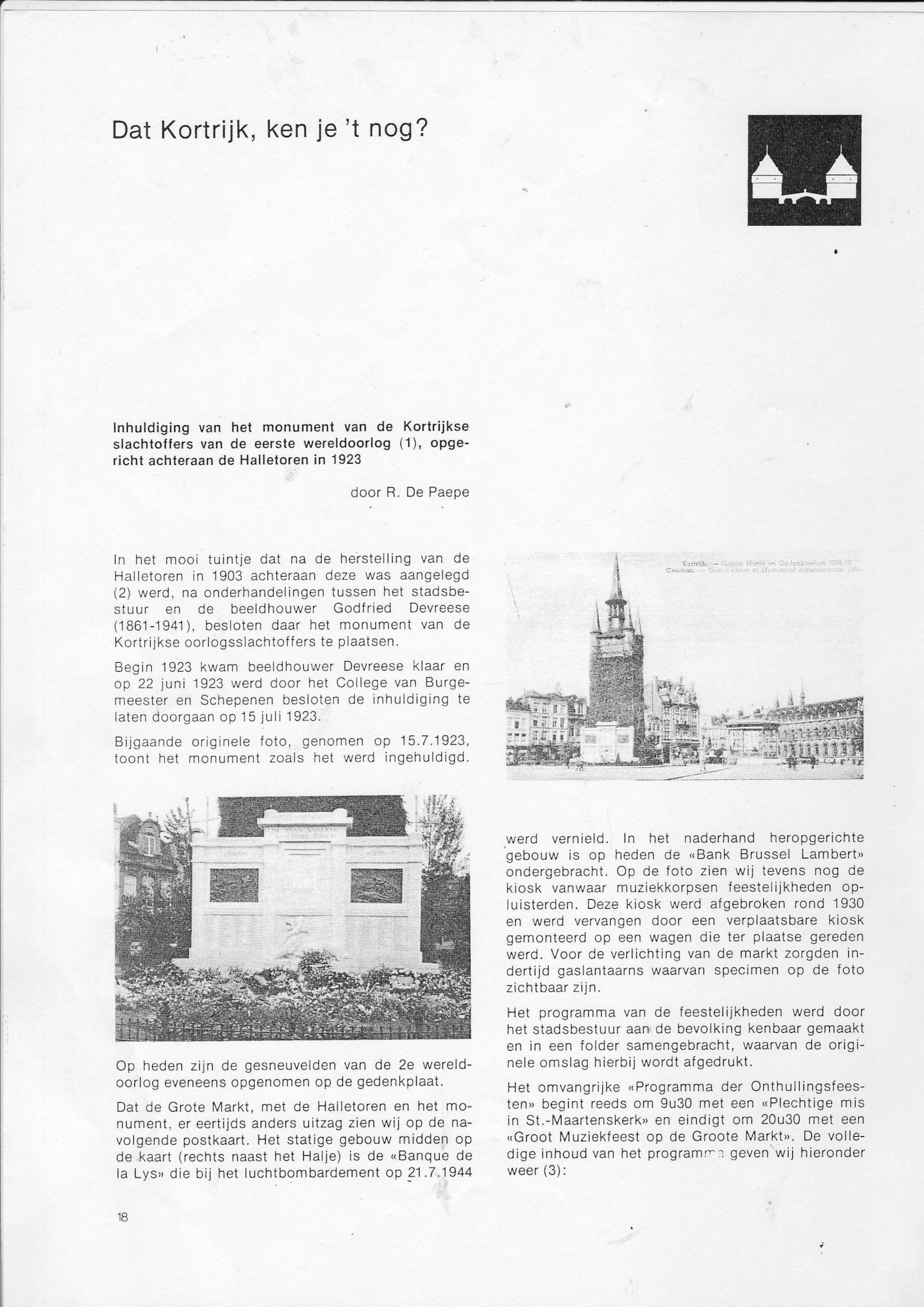 Halletoren en oorlogsmonument