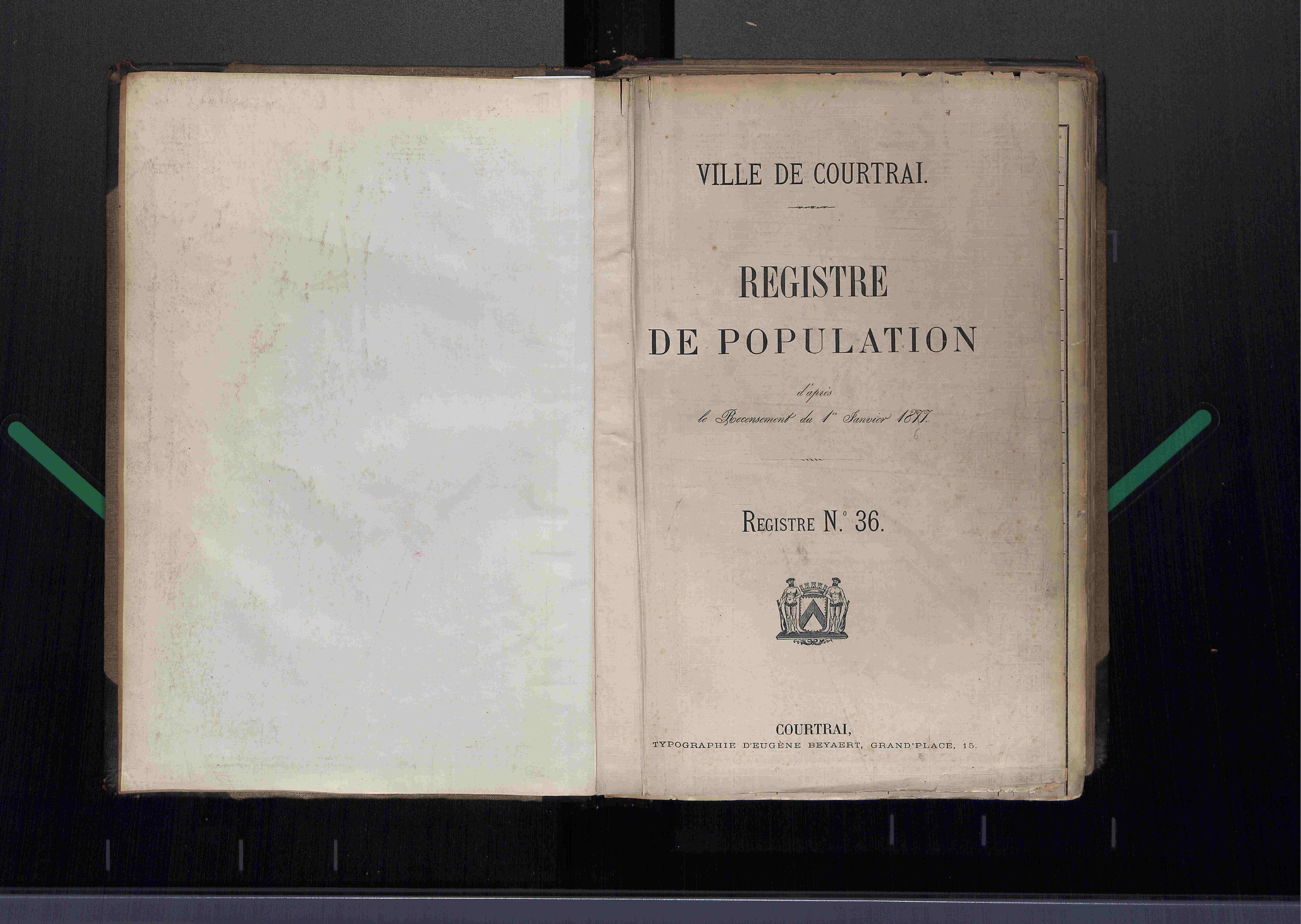 Bevolkingsregister Kortrijk 1866 boek 36