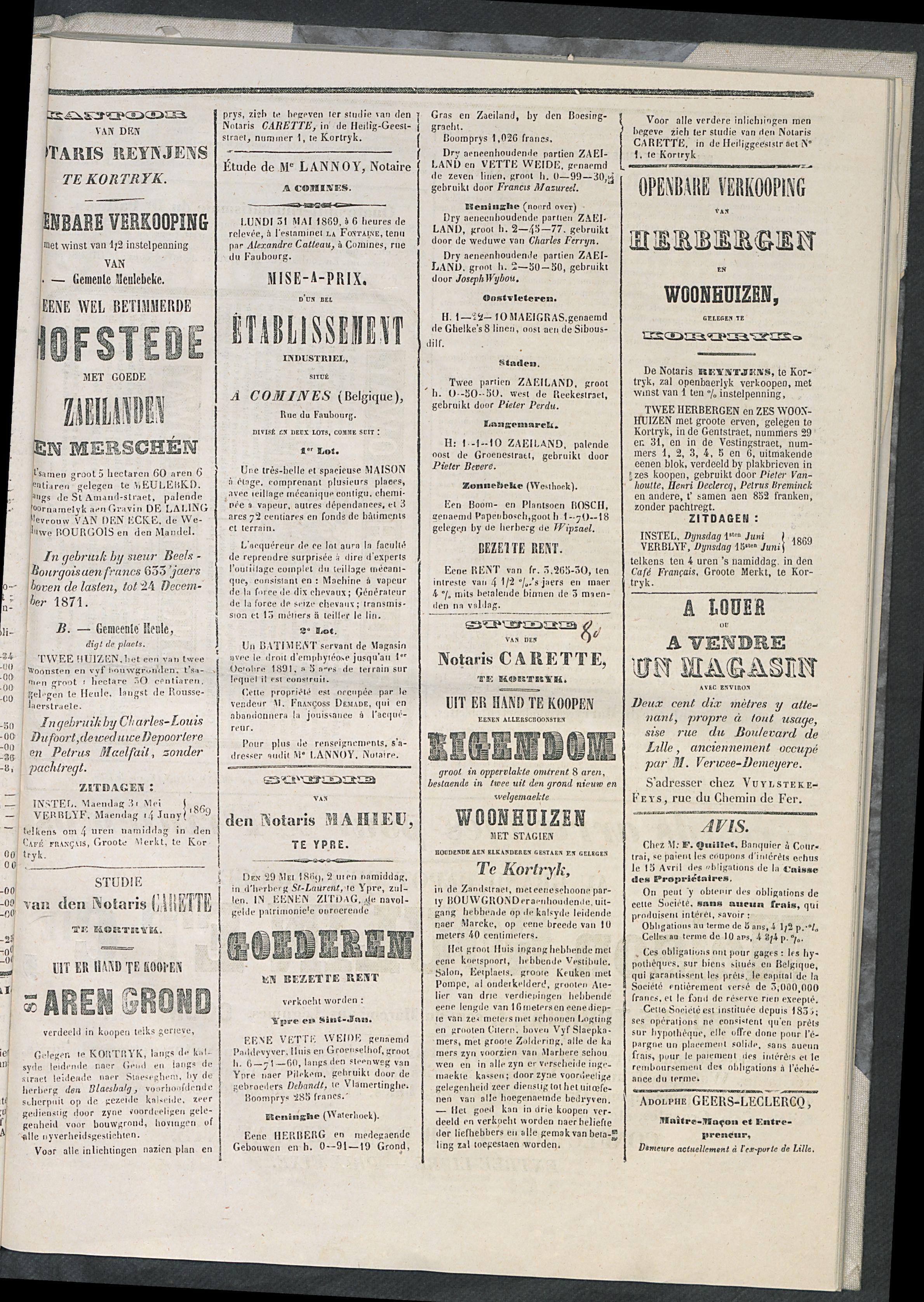 L'echo De Courtrai 1869-05-20 p3