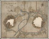Figuratieve kaart van de versterkingen van de stad Kortrijk, vóór de verkoop ervan door Boulanger, luitenant-kapitein van de ingenieurs in 1782, kopie van 1833