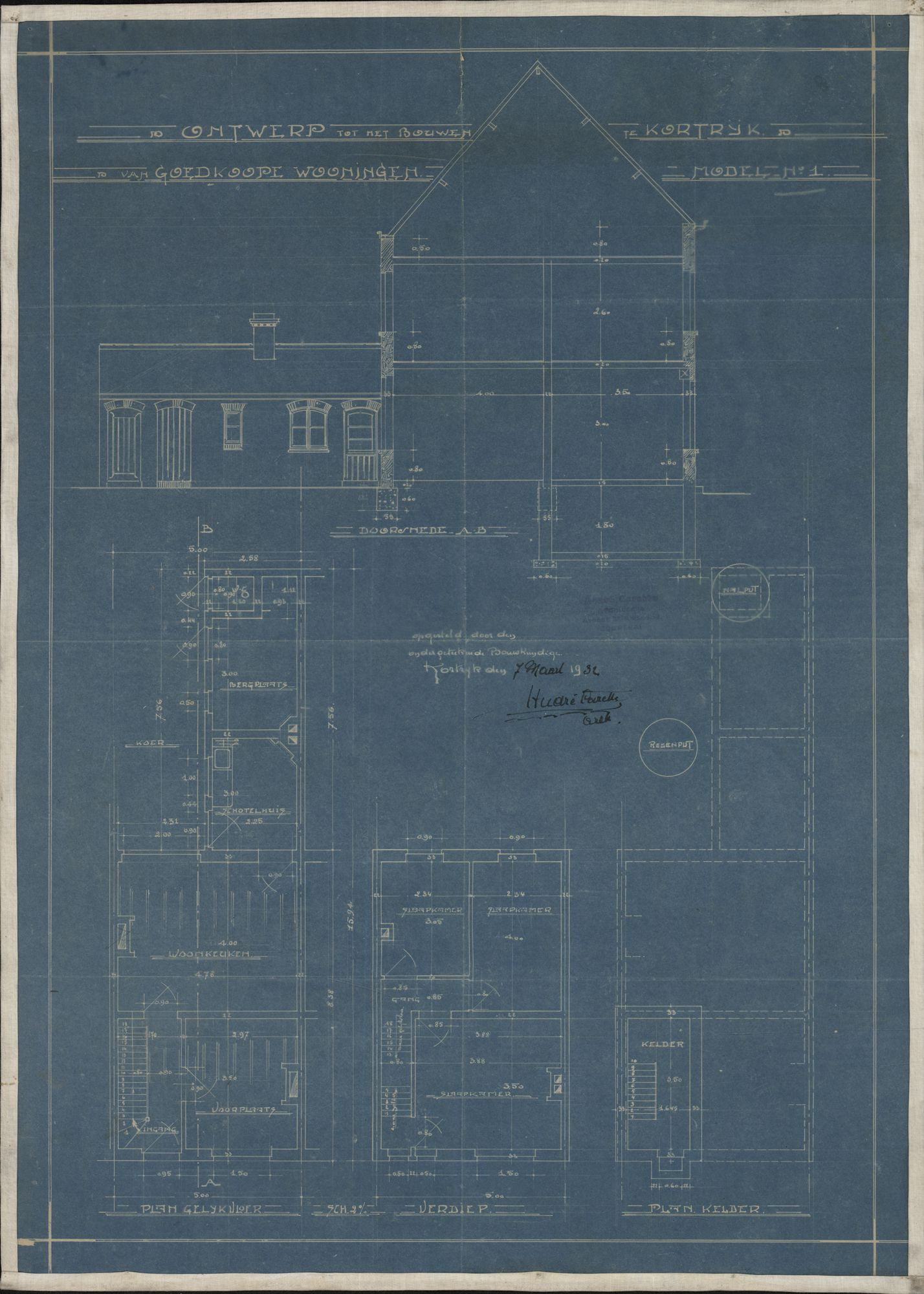 Bouwplan met ontwerp van goedkope woningen te Kortrijk, 1932