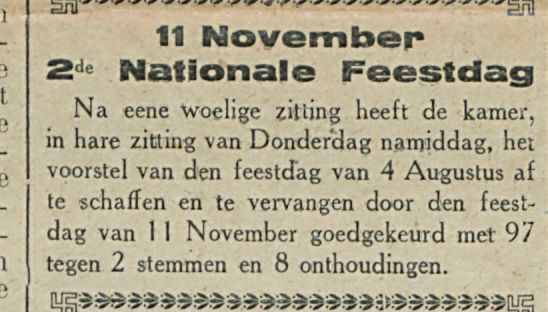 11 November 2de National e Feestdag