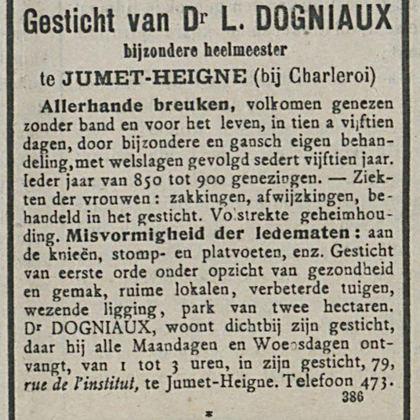 Gesticht van Dr L DOGNIAUX