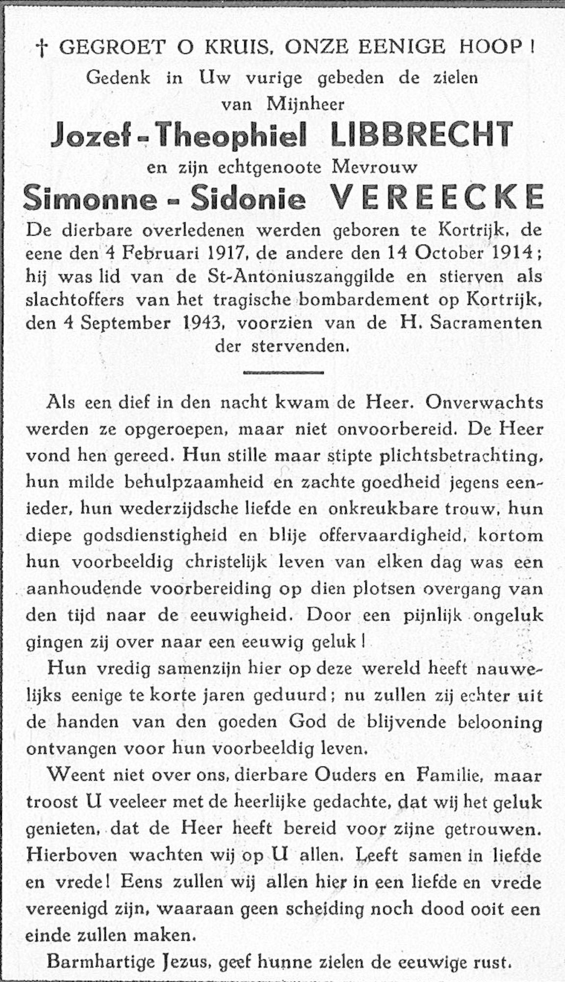 Jozef-Theophiel Libbrecht en Simonne-Sidonie Vereecke