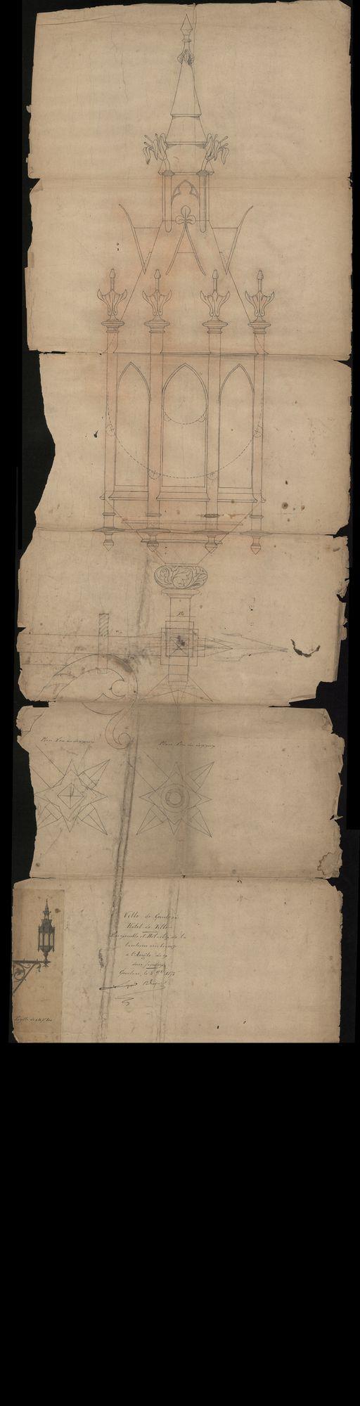 Figuratief bouwplan van de toren van het stadhuis te Kortrijk, 19de eeuw