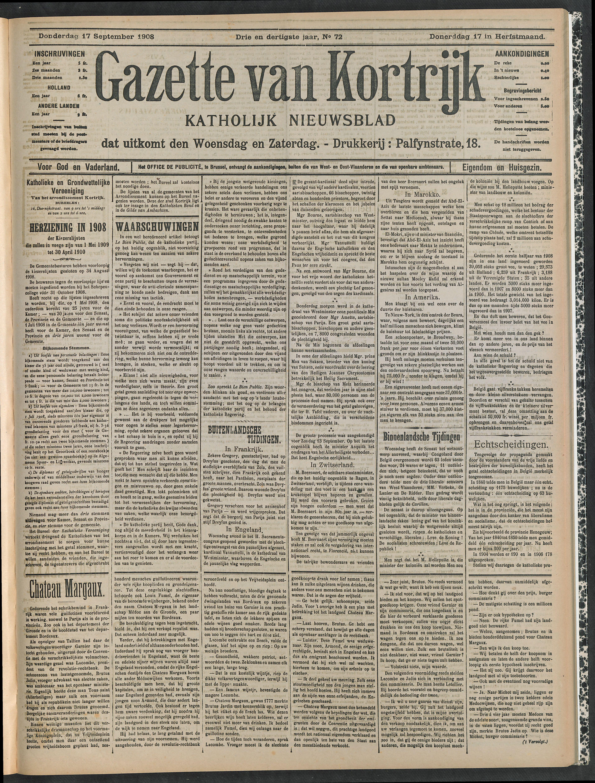 Gazette Van Kortrijk 1908-09-17 p1