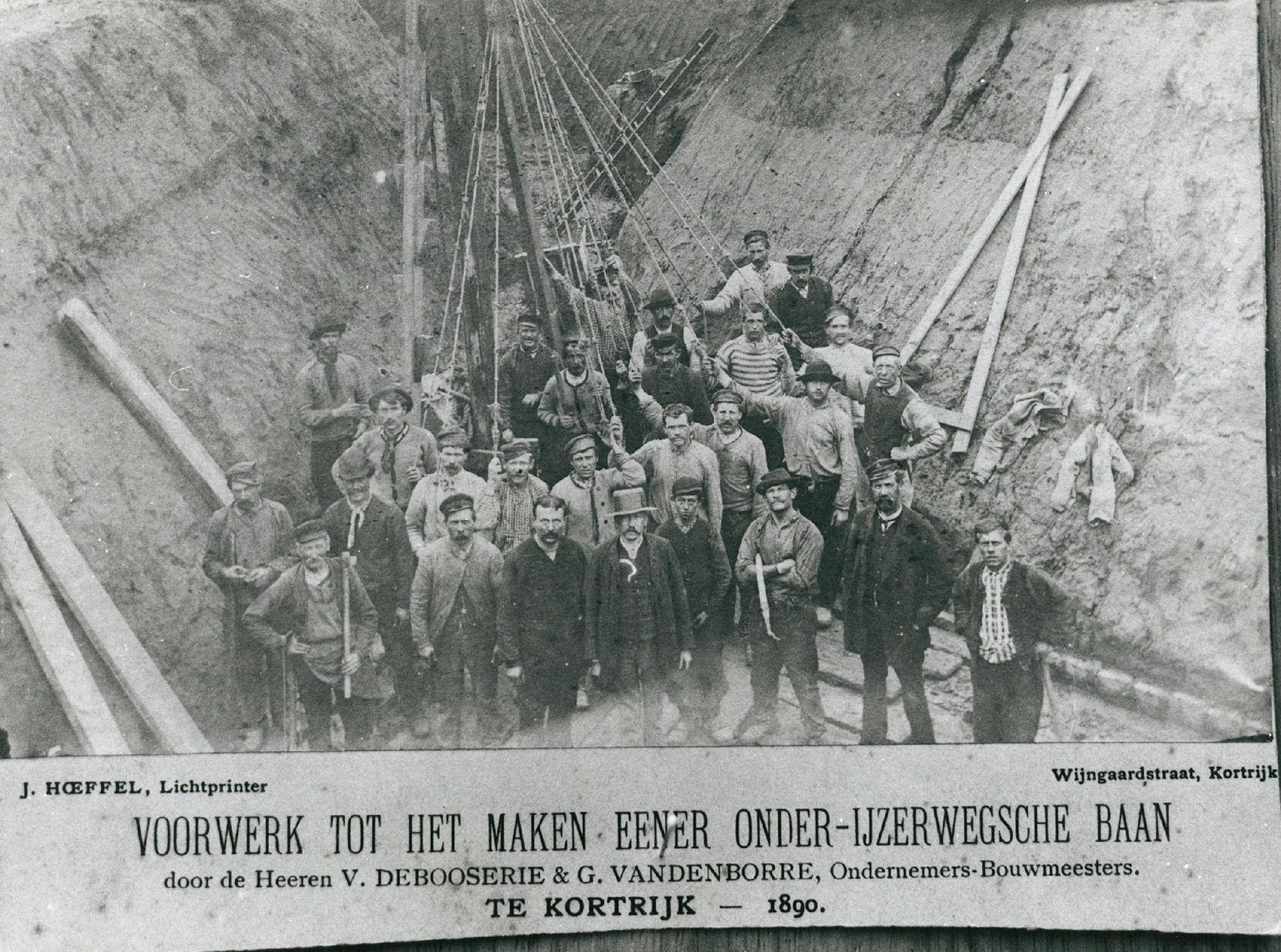 Voorbereiding tot de aanleg van een spoorwegbaan aan de J. de Bethunelaan.