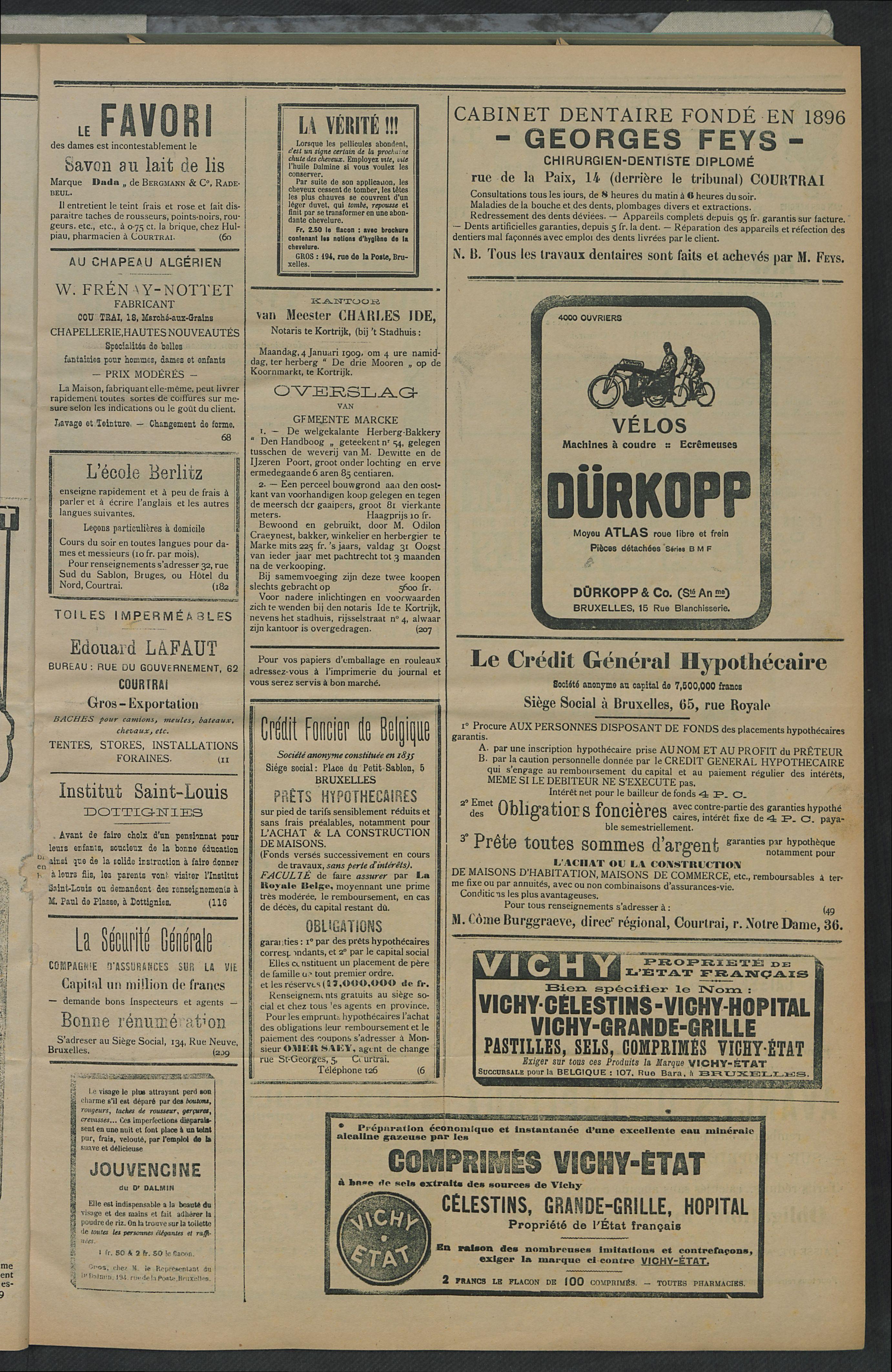 L'echo De Courtrai 1909-01-02 p3