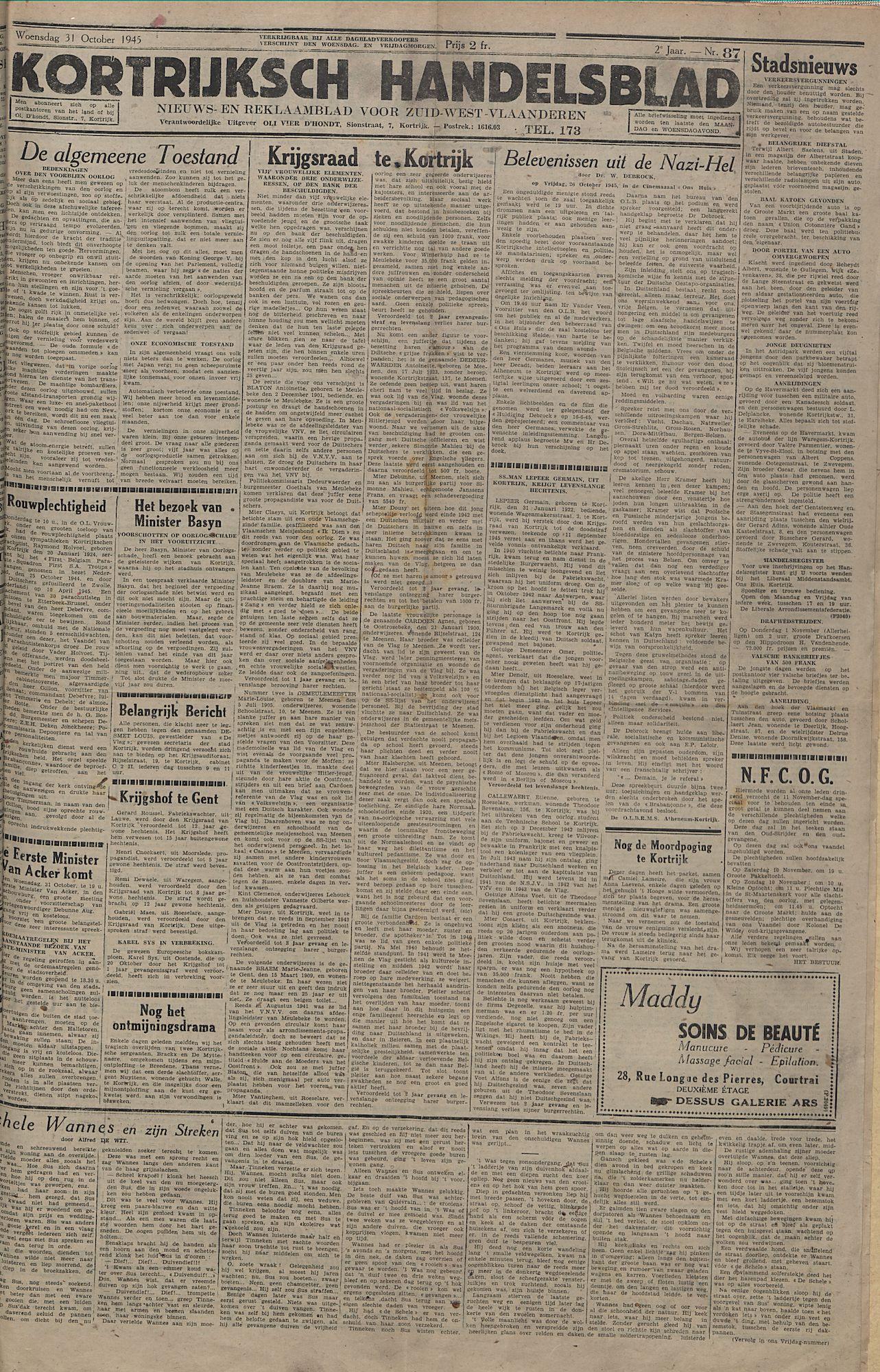 Kortrijksch Handelsblad 31 october 1945 Nr87 p1