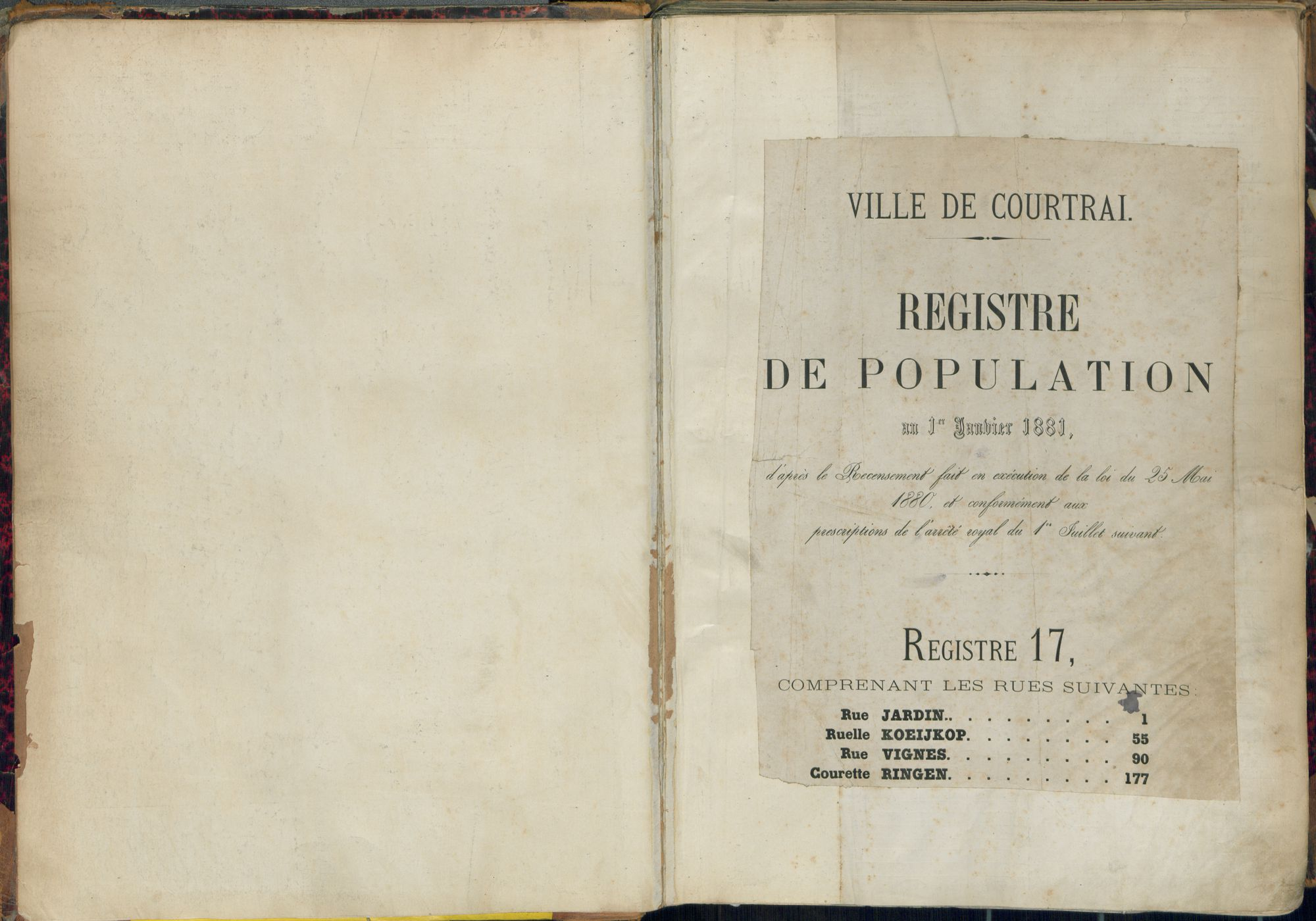 Bevolkingsregister Kortrijk 1880 boek 17