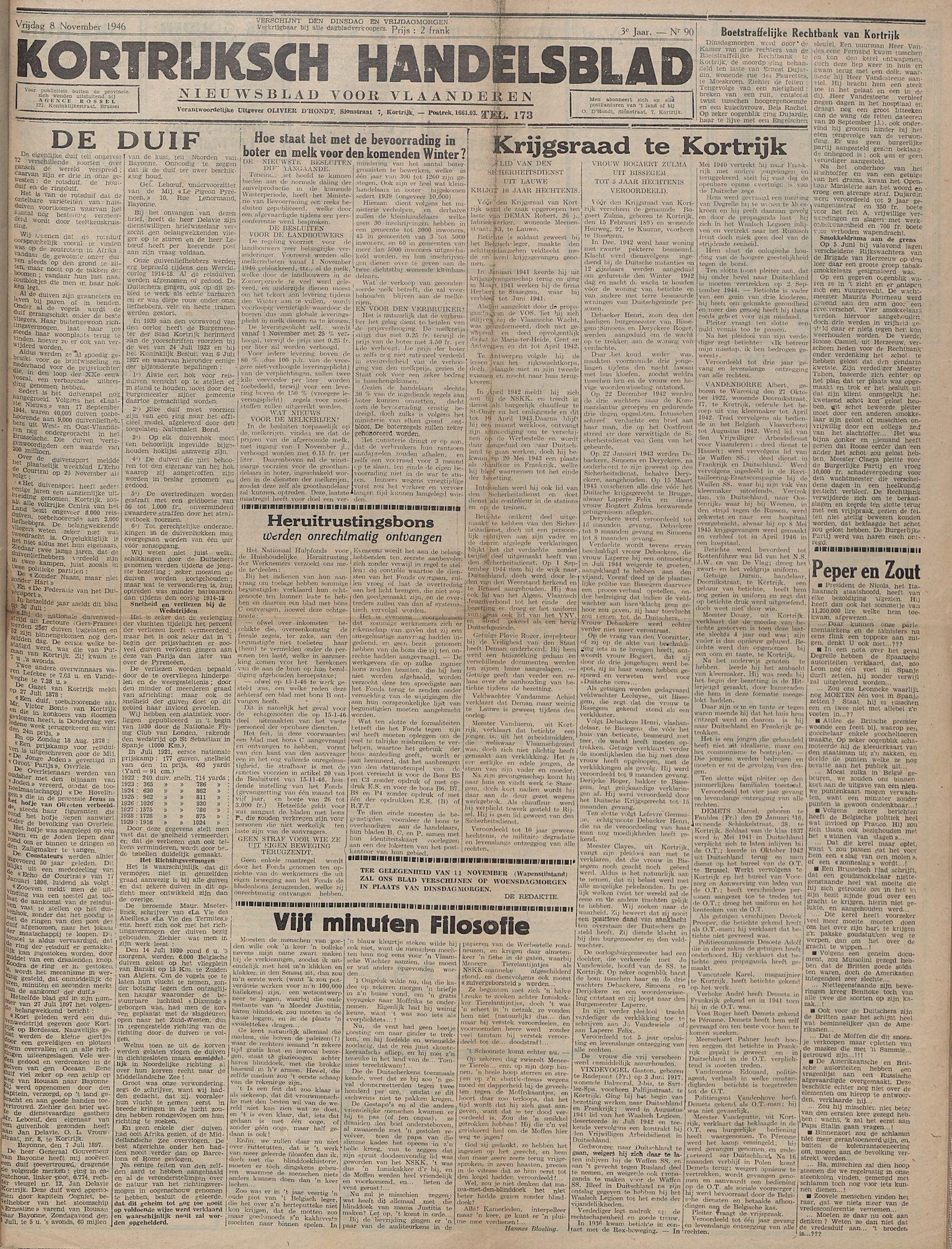 Kortrijksch Handelsblad 8 november 1946 Nr90 p1