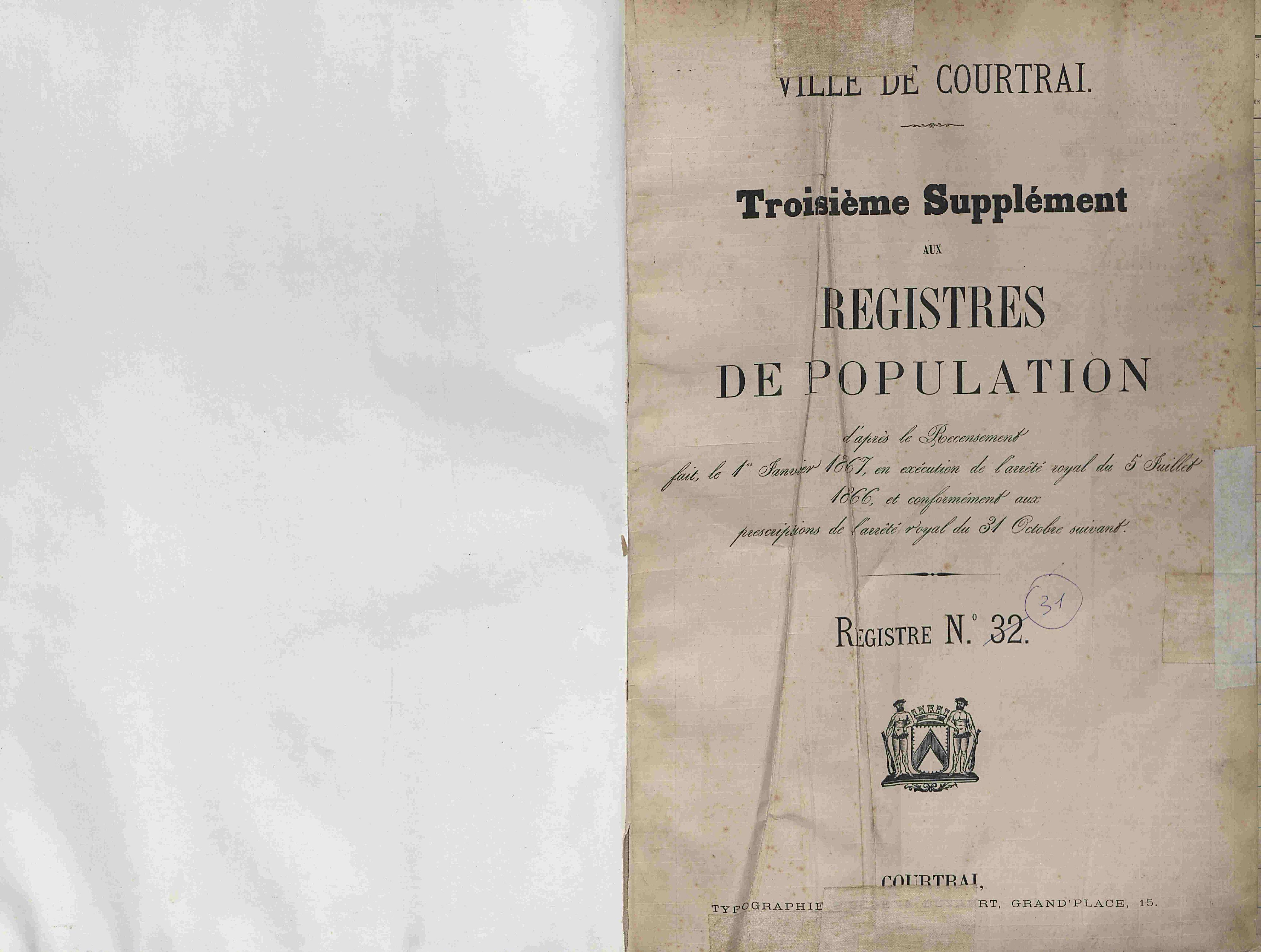 Bevolkingsregister Kortrijk 1866 boek 31