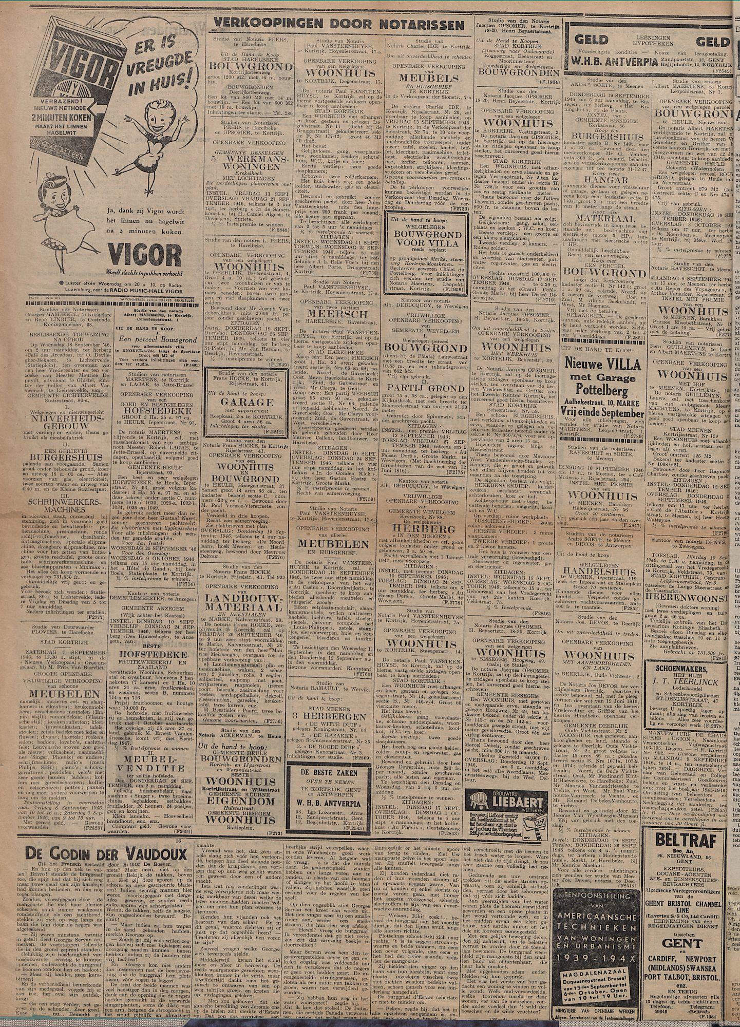 Kortrijksch Handelsblad 6 september 1946 Nr71 p4