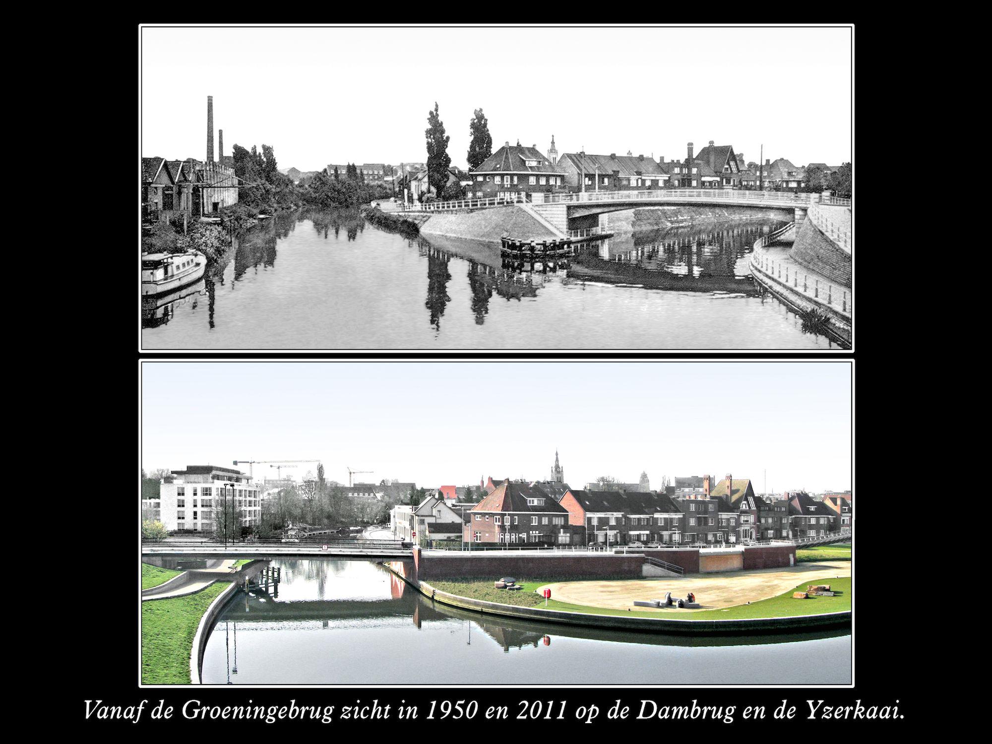 Ijzerkaai en Dambrug 1950 en 2011