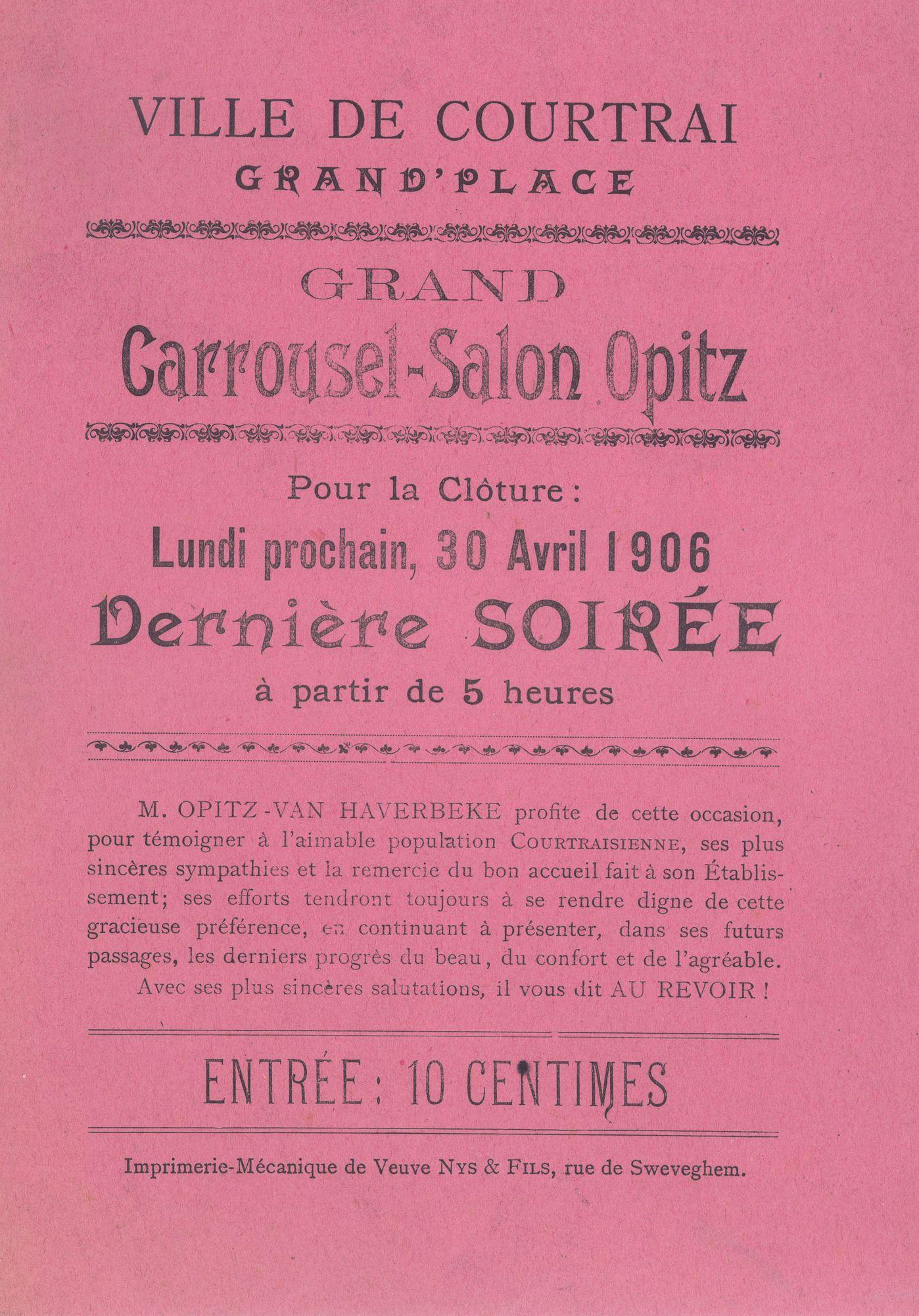 Paasfoor 1906: Grand Carrousel-Salon Opitz