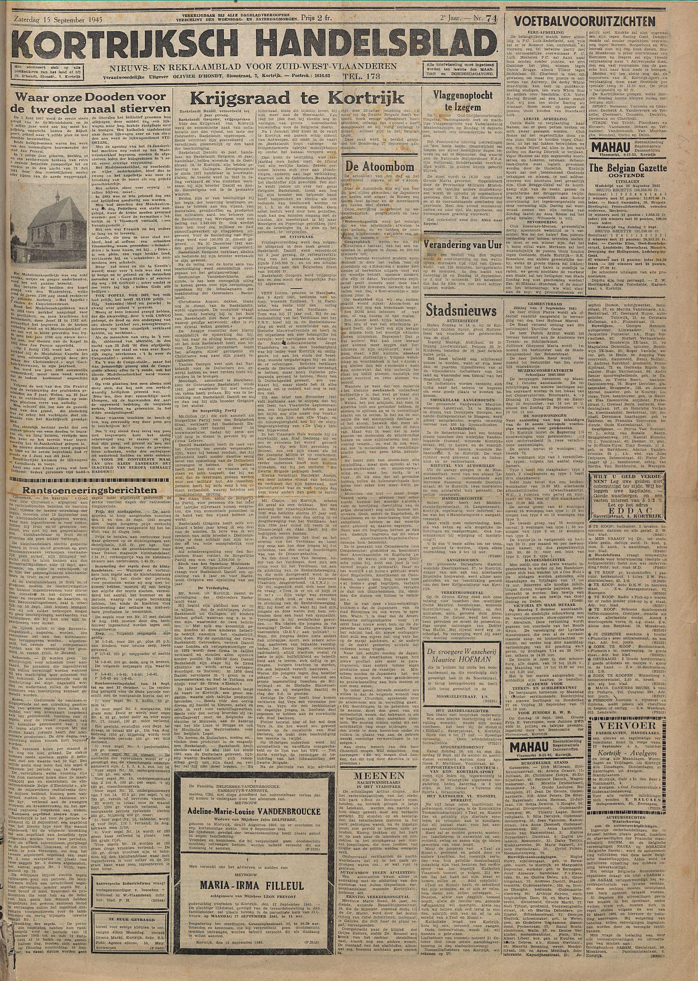 Kortrijksch Handelsblad 15 september 1945 Nr74 p1
