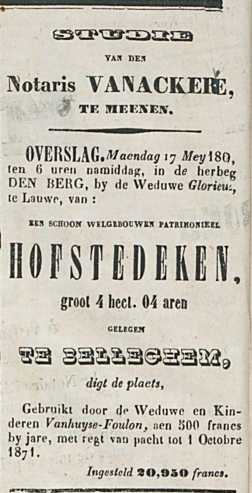 Notaris VANACKERE HOFSTEDEKEN